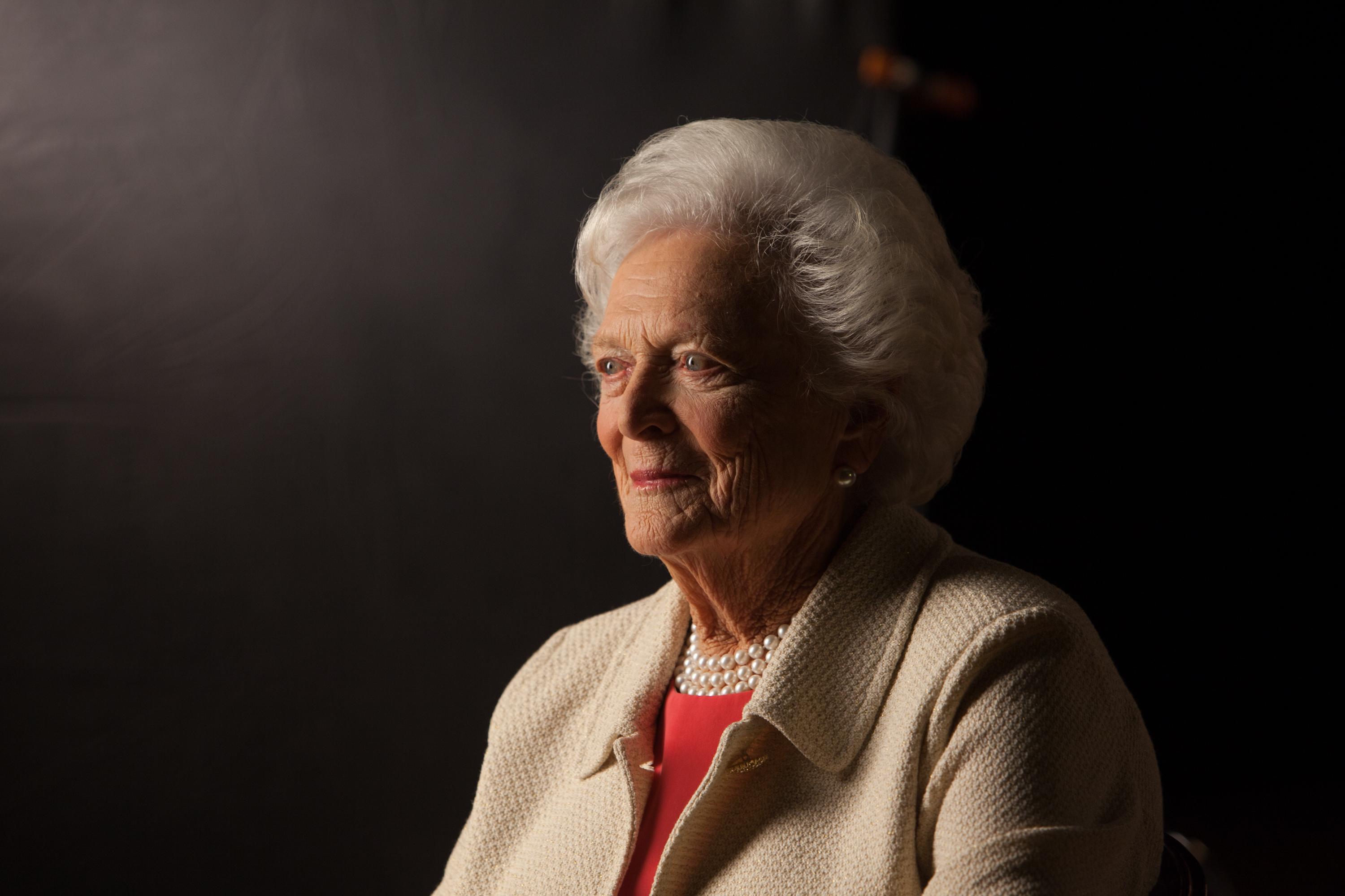 Former First Lady Barbara Bush is interviewed for 'The Presidents' Gatekeepers' project at the Bush Library, on Oct. 24, 2011, in College Station, Texas.