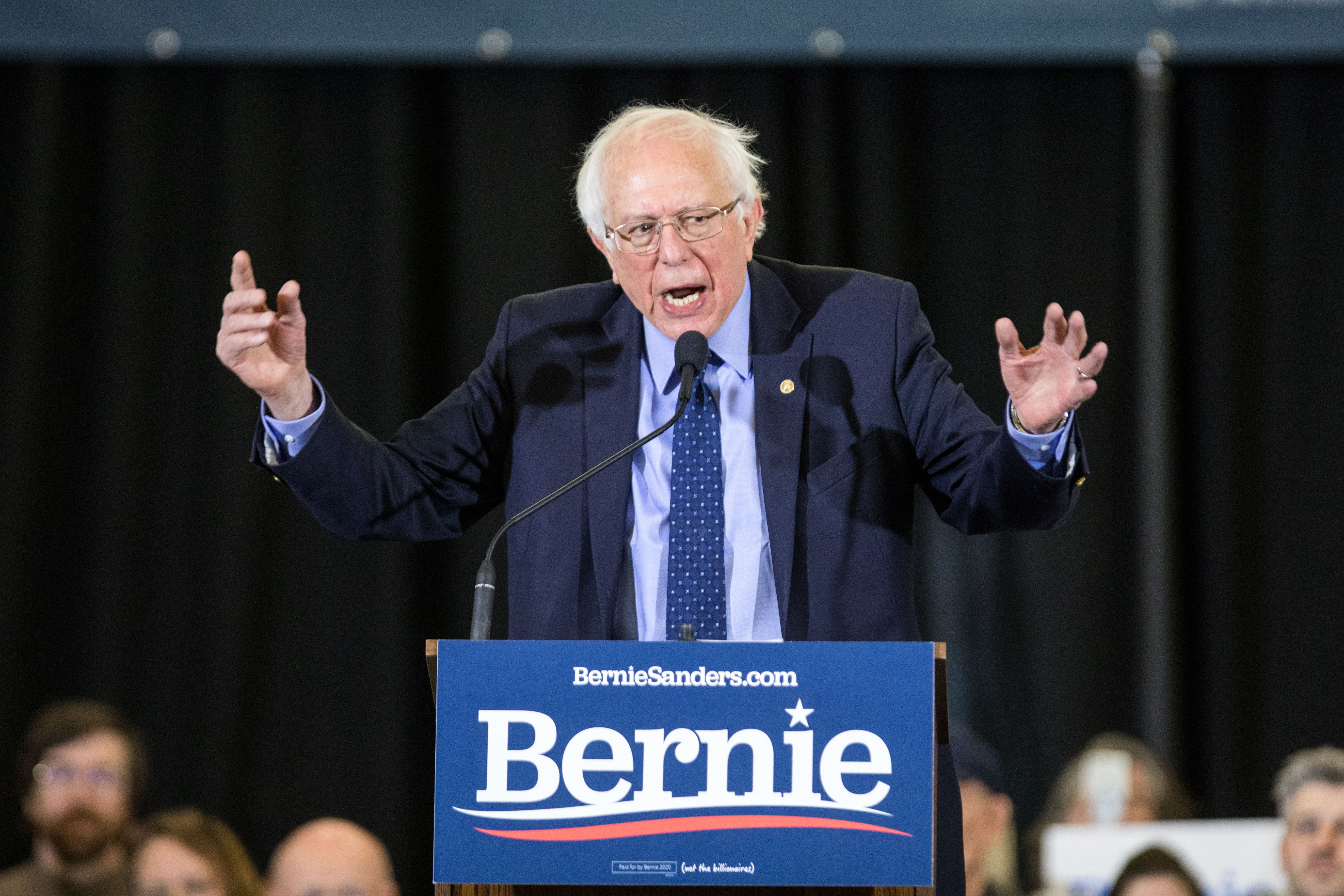 2020 Democratic presidential candidate U.S. Sen. Bernie Sanders (I-VT) speaks during his first New Hampshire campaign event on March 10, 2019 in Concord, New Hampshire.