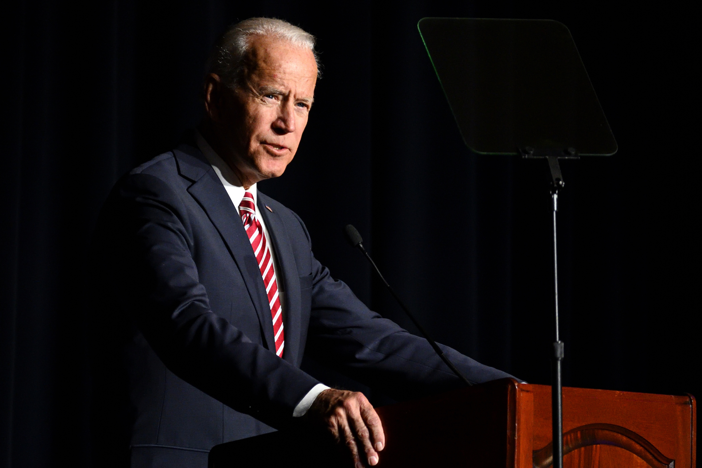 Joe Biden delivers the keynote speech at the First State Democratic Dinner at the Rollins Center in Dover, Del., on March 16, 2019.