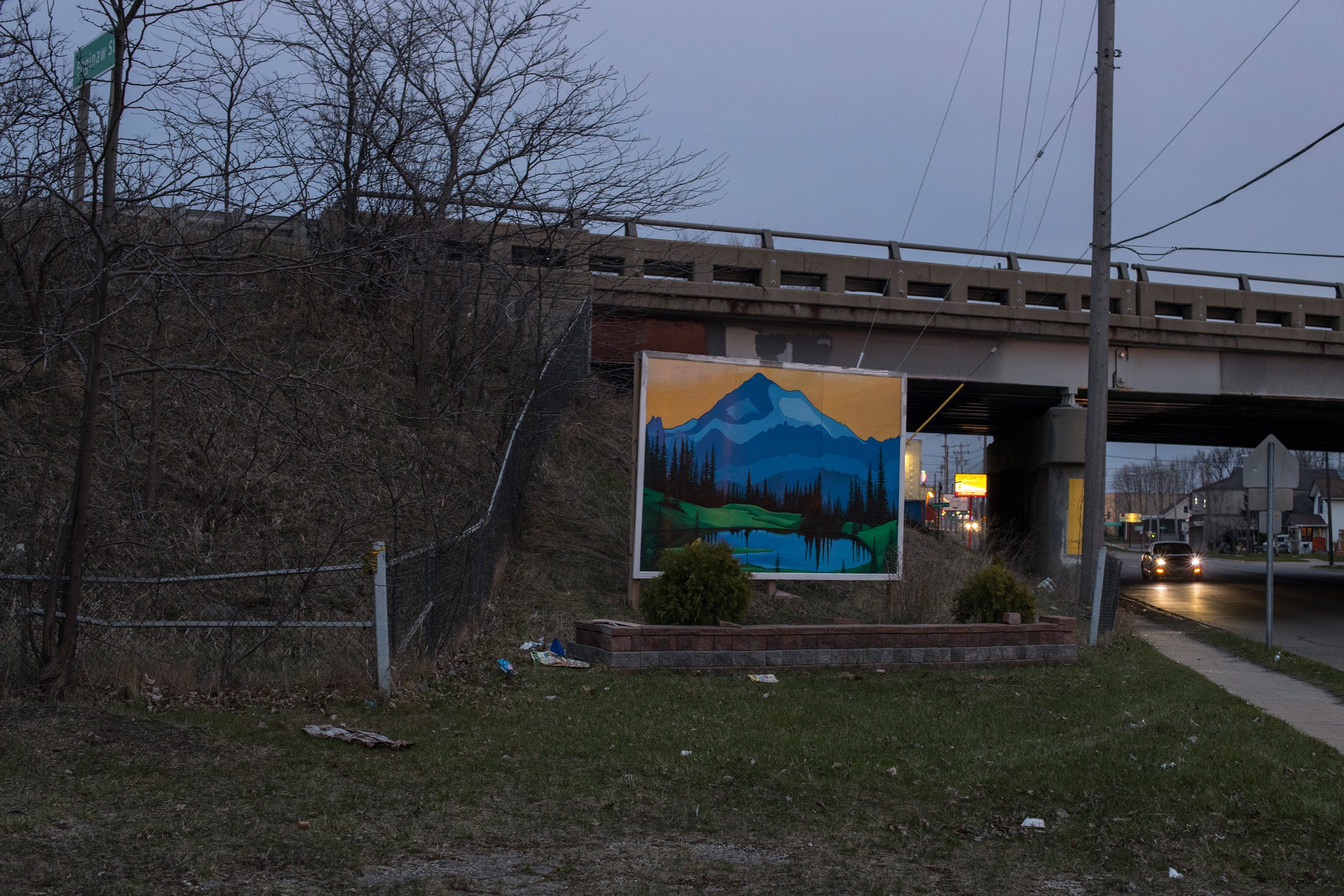 A picturesque mural sits on the side of Saginaw Street on the south side of Flint.
