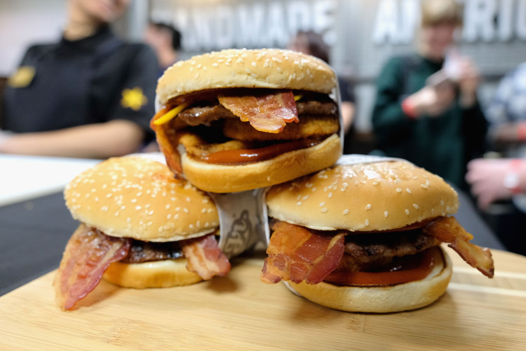 In this file photo, the Western Bacon Cheeseburger on display at the Carl's Jr. opening in Manhattan on January 30, 2018 in New York City. The fast-food chain is going to sell a CBD-infused burger — at one location in Denver, Colorado — to celebrate 4/20 this year.