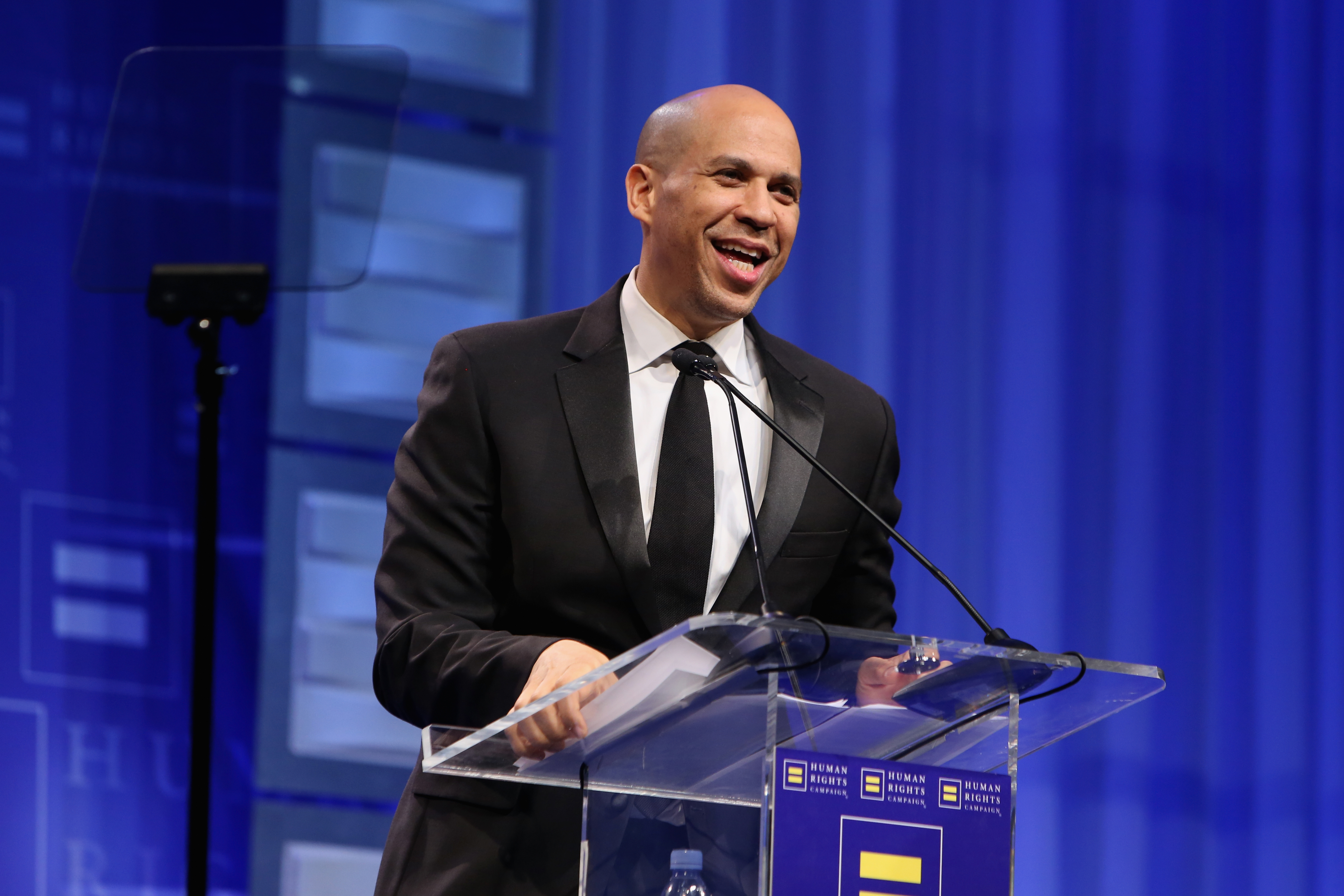 Senator Cory Booker speaks onstage during The Human Rights Campaign 2019 Los Angeles Gala Dinner at JW Marriott Los Angeles at L.A. LIVE on March 30, 2019 in Los Angeles, California.