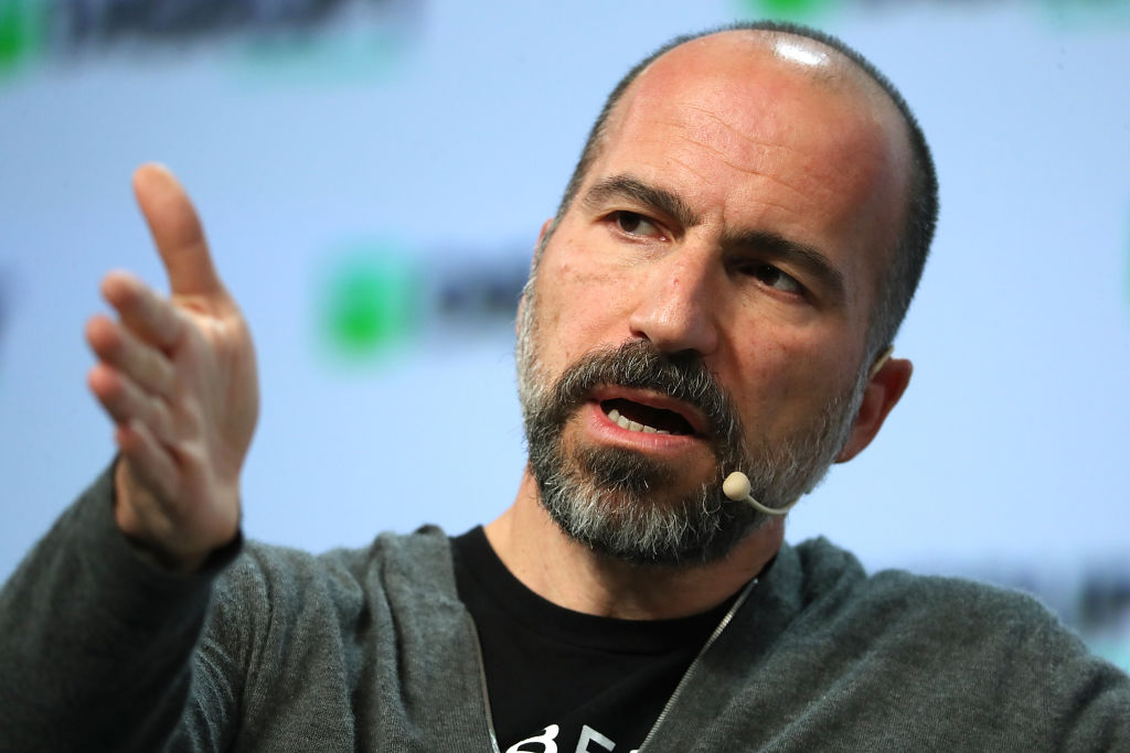 Uber CEO Dara Khosrowshahi speaks during the TechCrunch Disrupt SF 2018  on September 6, 2018 in San Francisco, California.