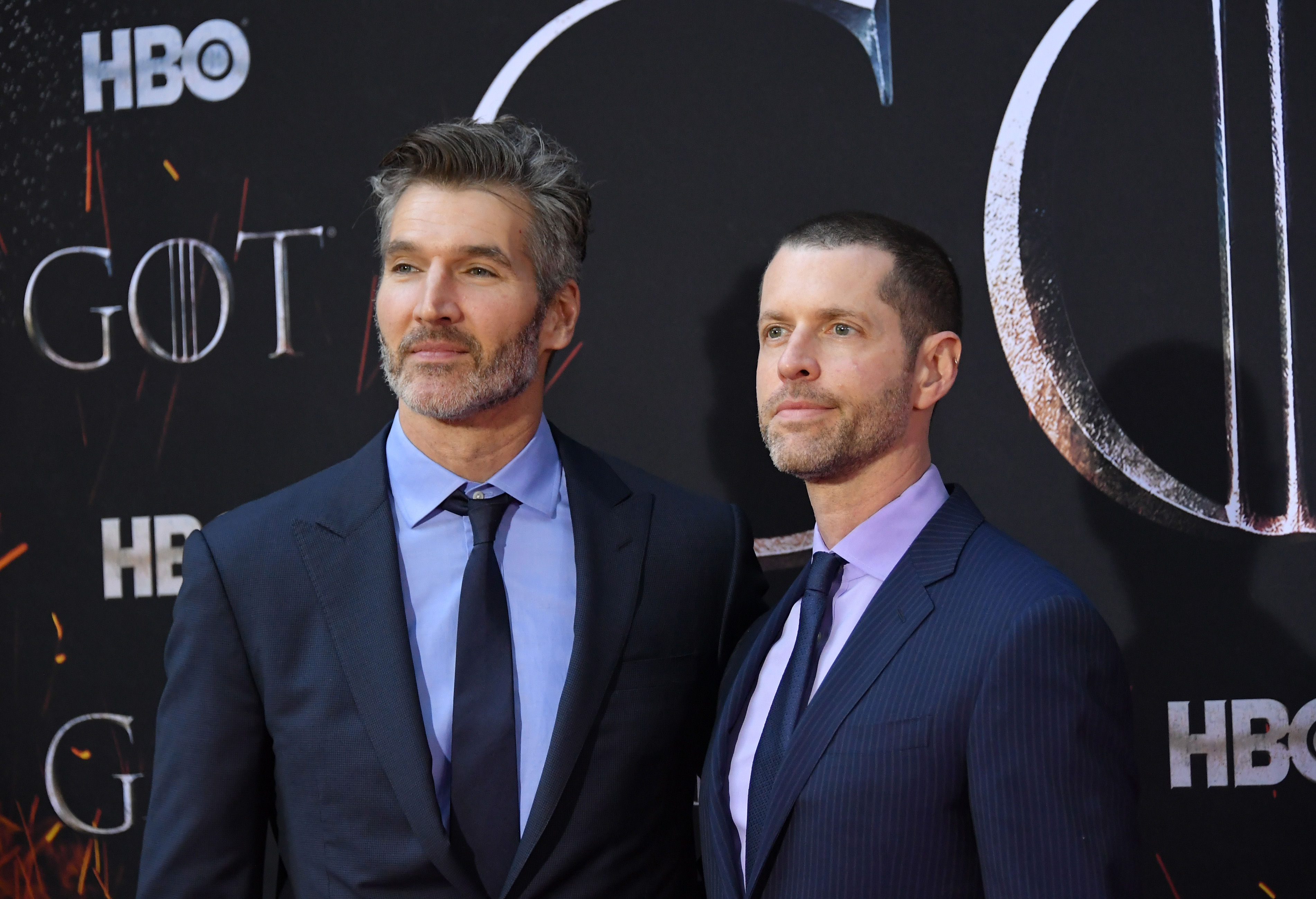 David Benioff and D. B. Weiss attend the  Game Of Thrones  season 8 premiere on April 3, 2019 in New York City.