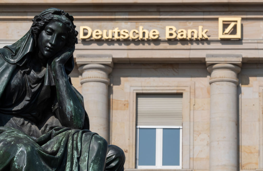 A sculpture is seen in front of a Deutsche Bank branch in Frankfurt, Germany on April 15, 2019.