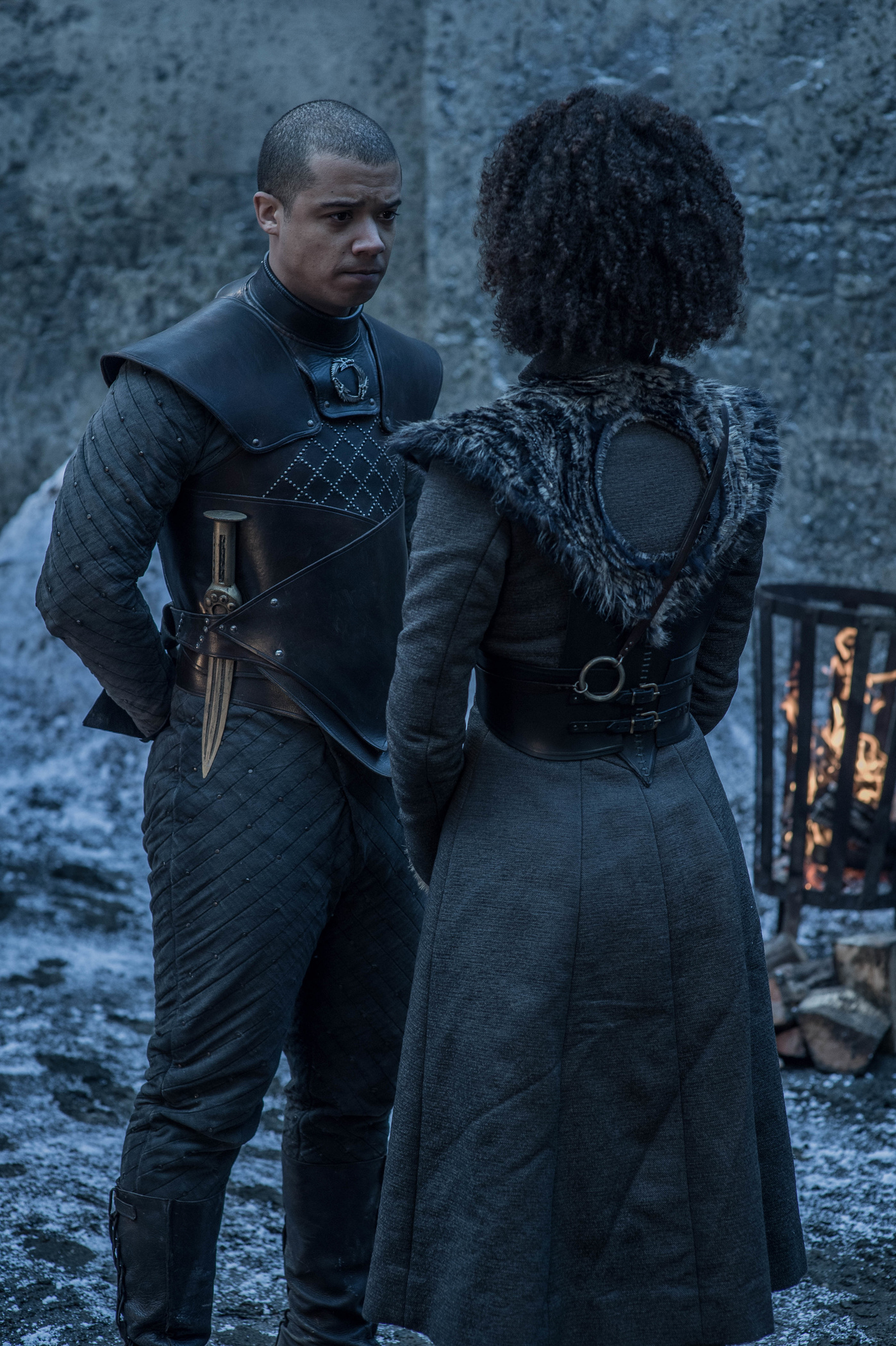 Jacob Anderson as Grey Worm and Nathalie Emmanuel as Missandei.
