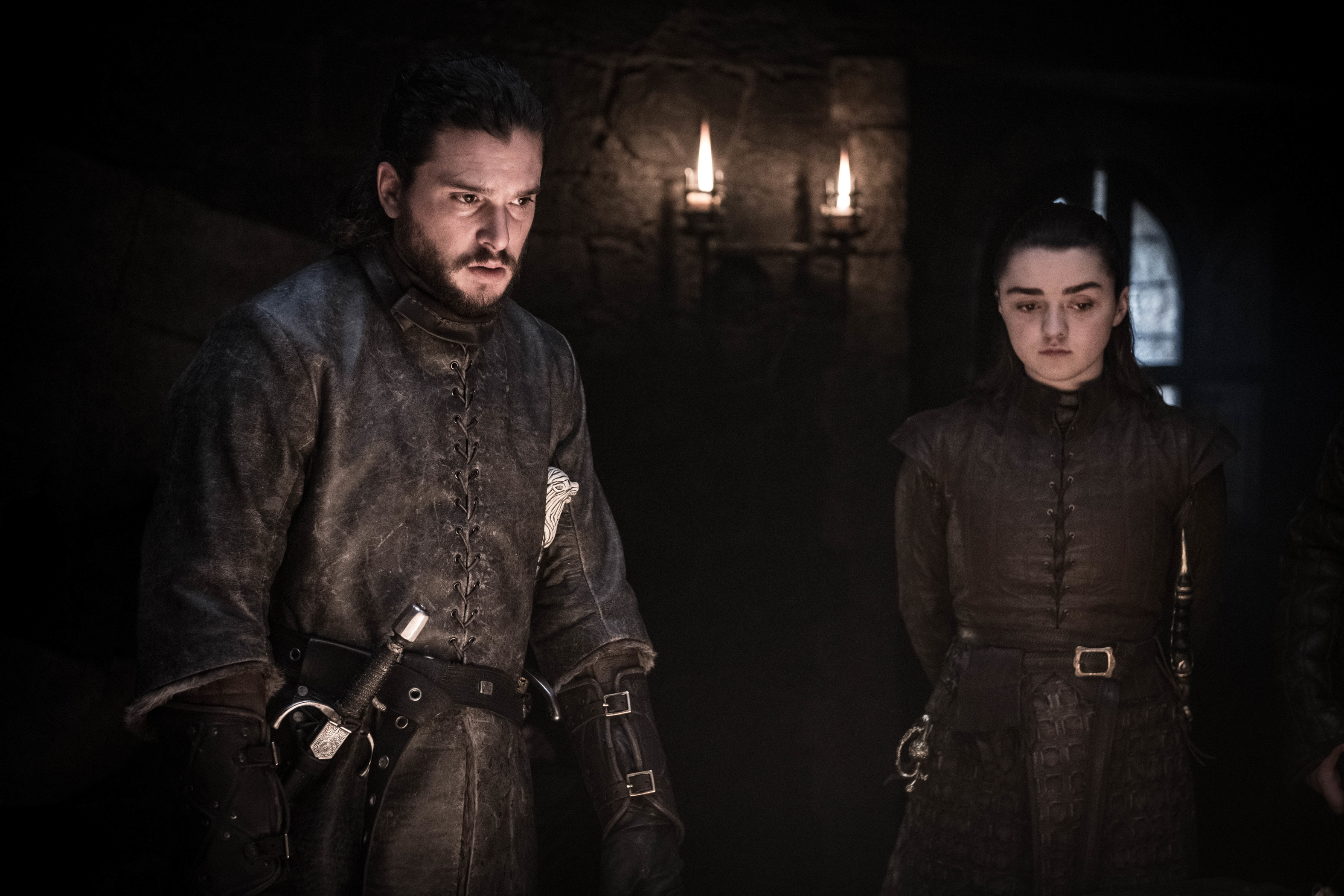 Kit Harington as Jon Snow and Maisie Williams as Arya Stark.