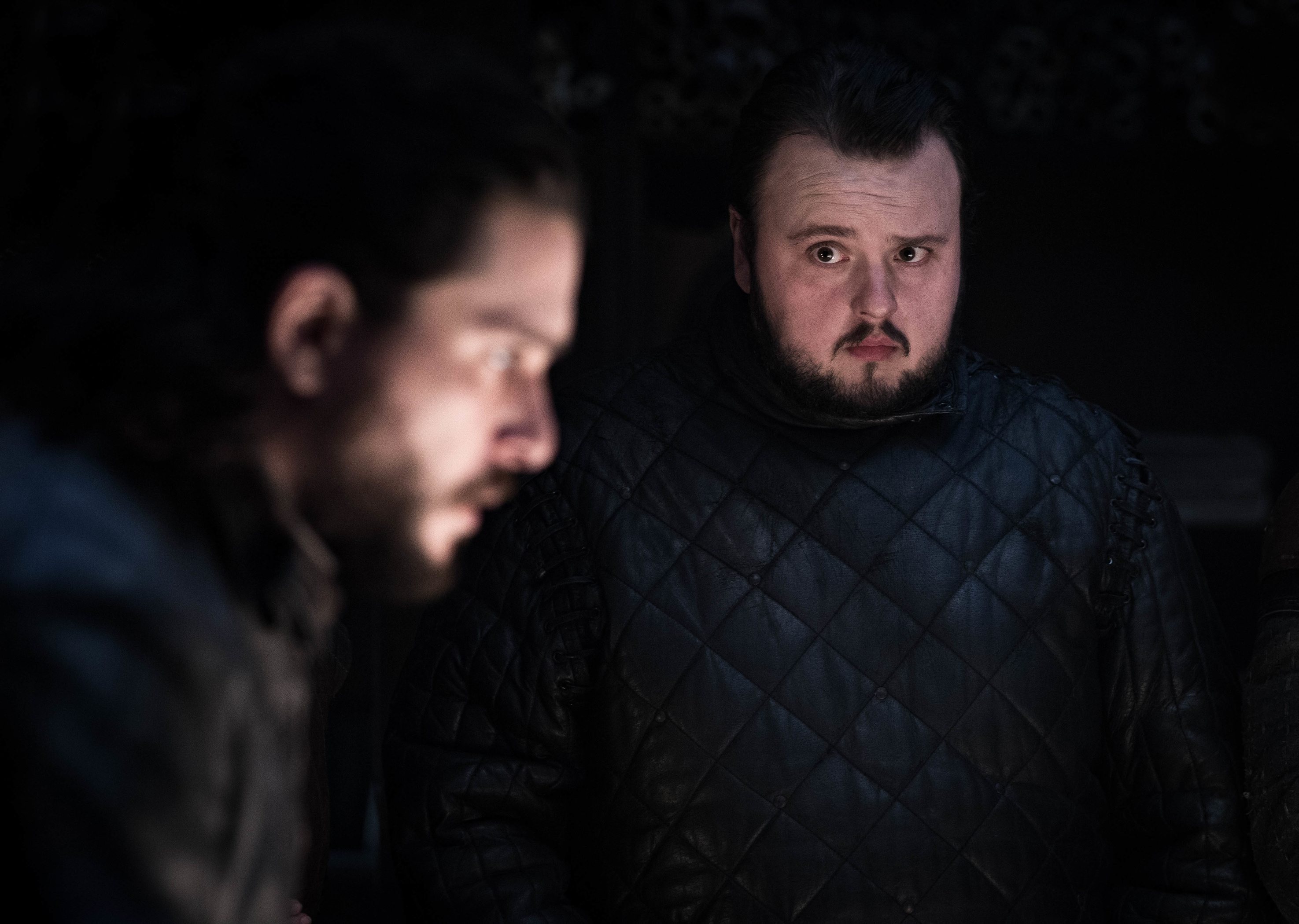Kit Harington as Jon Snow and John Bradley as Samwell Tarly.