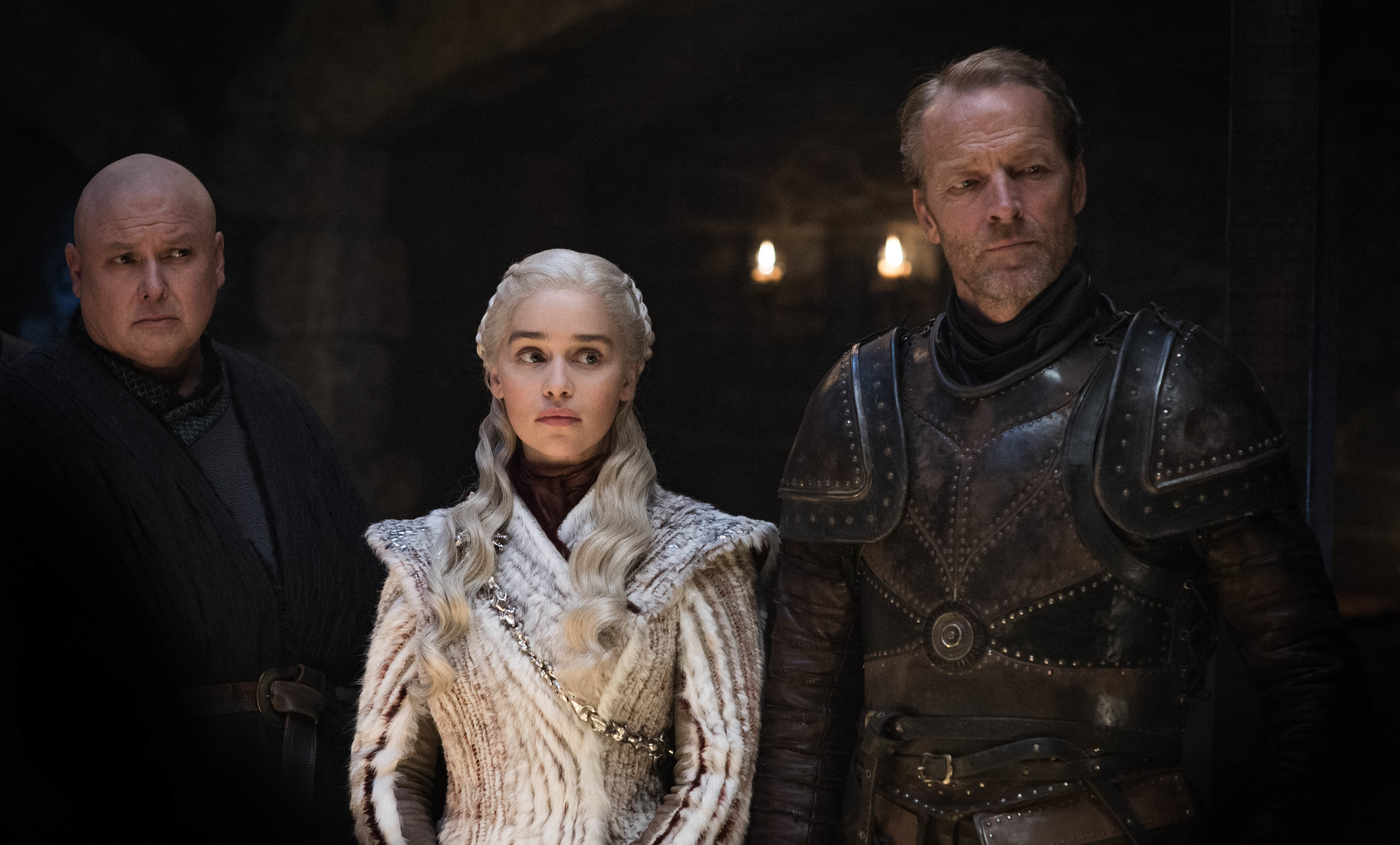 Conleth Hill as Varys, Emilia Clarke as Daenerys Targaryen, and Iain Glen as Jorah Mormont.