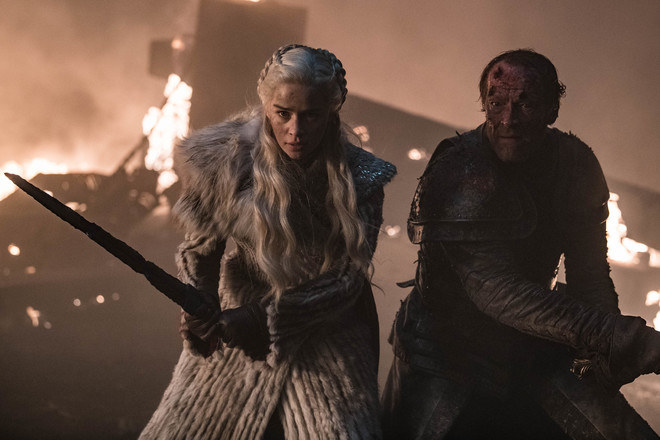 Emilia Clarke as Daenerys Targaryen and Iain Glen as Jorah Mormont