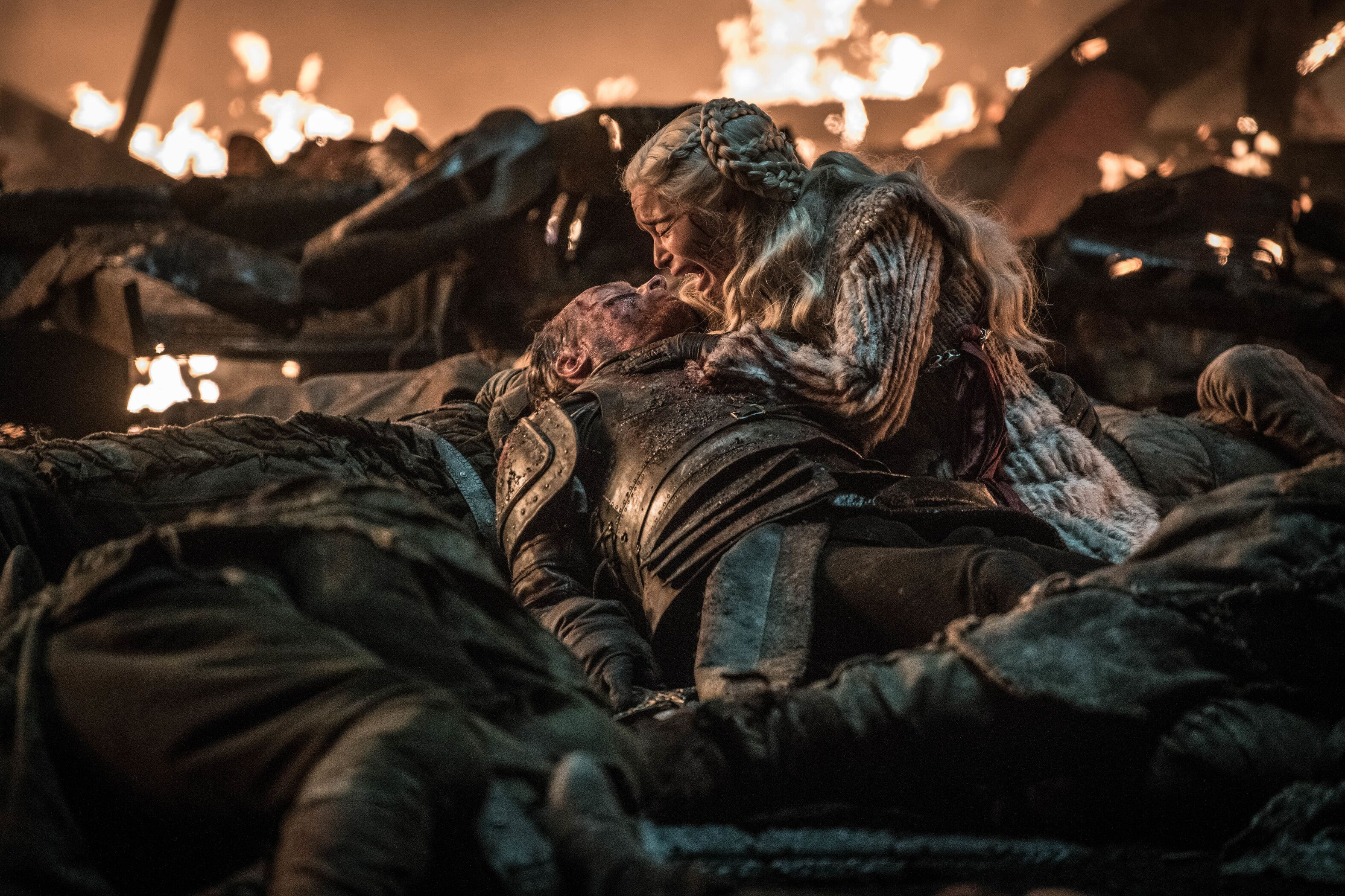 Iain Glen as Jorah Mormont and Emilia Clarke as Daenerys Targaryen