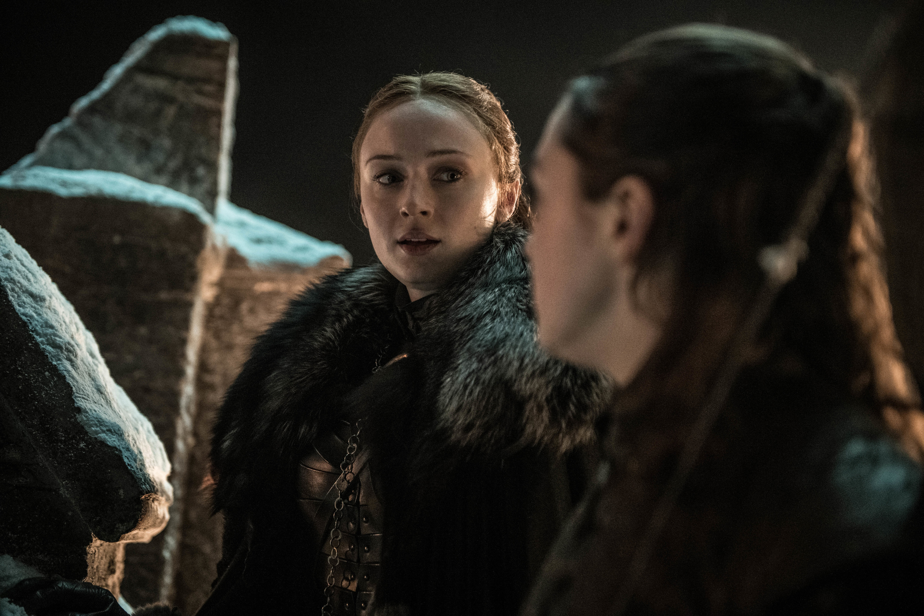 Sophie Turner as Sansa Stark and Maisie Williams as Arya Stark