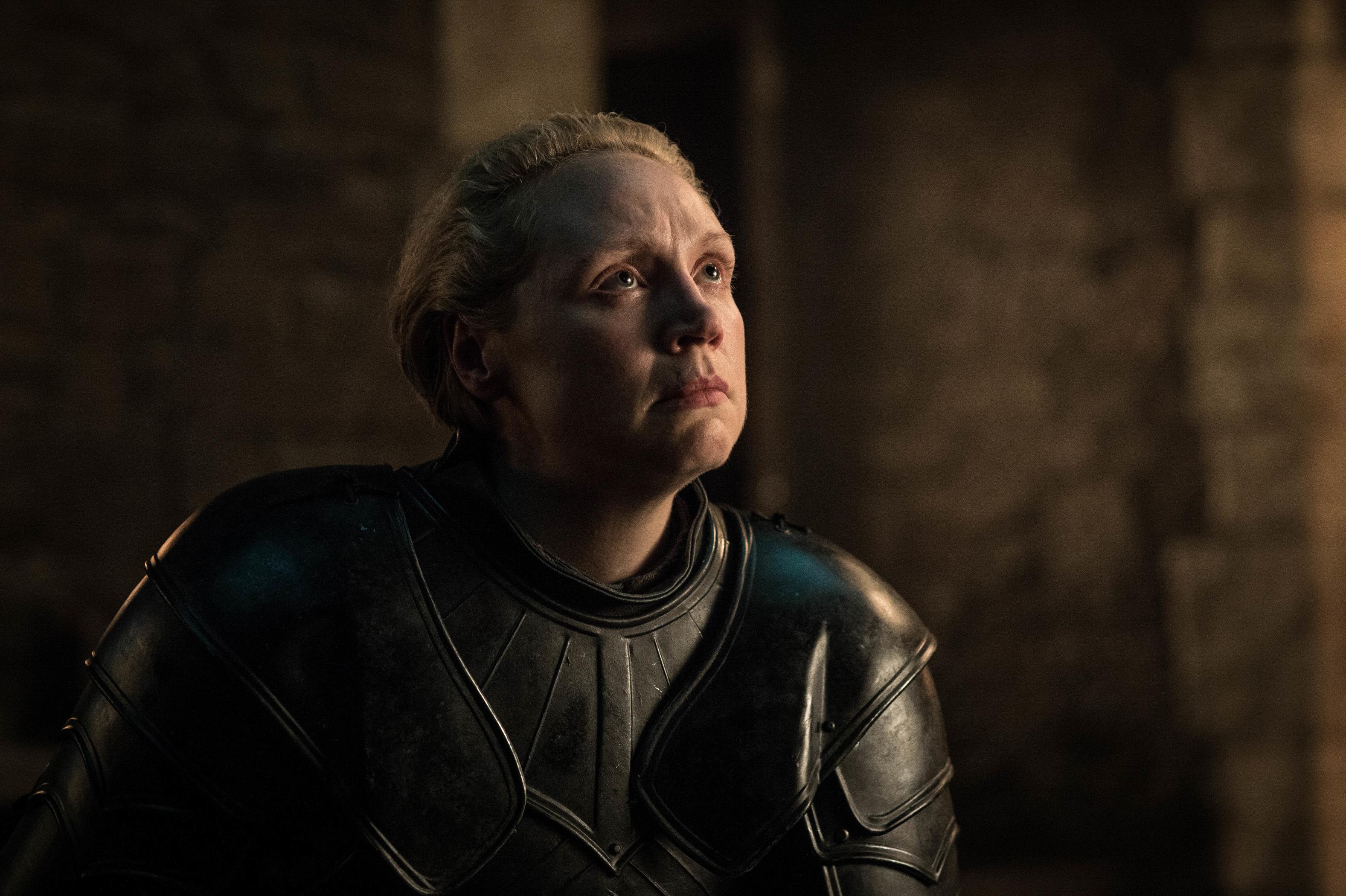 Gwendoline Christie as Brienne of Tarth.