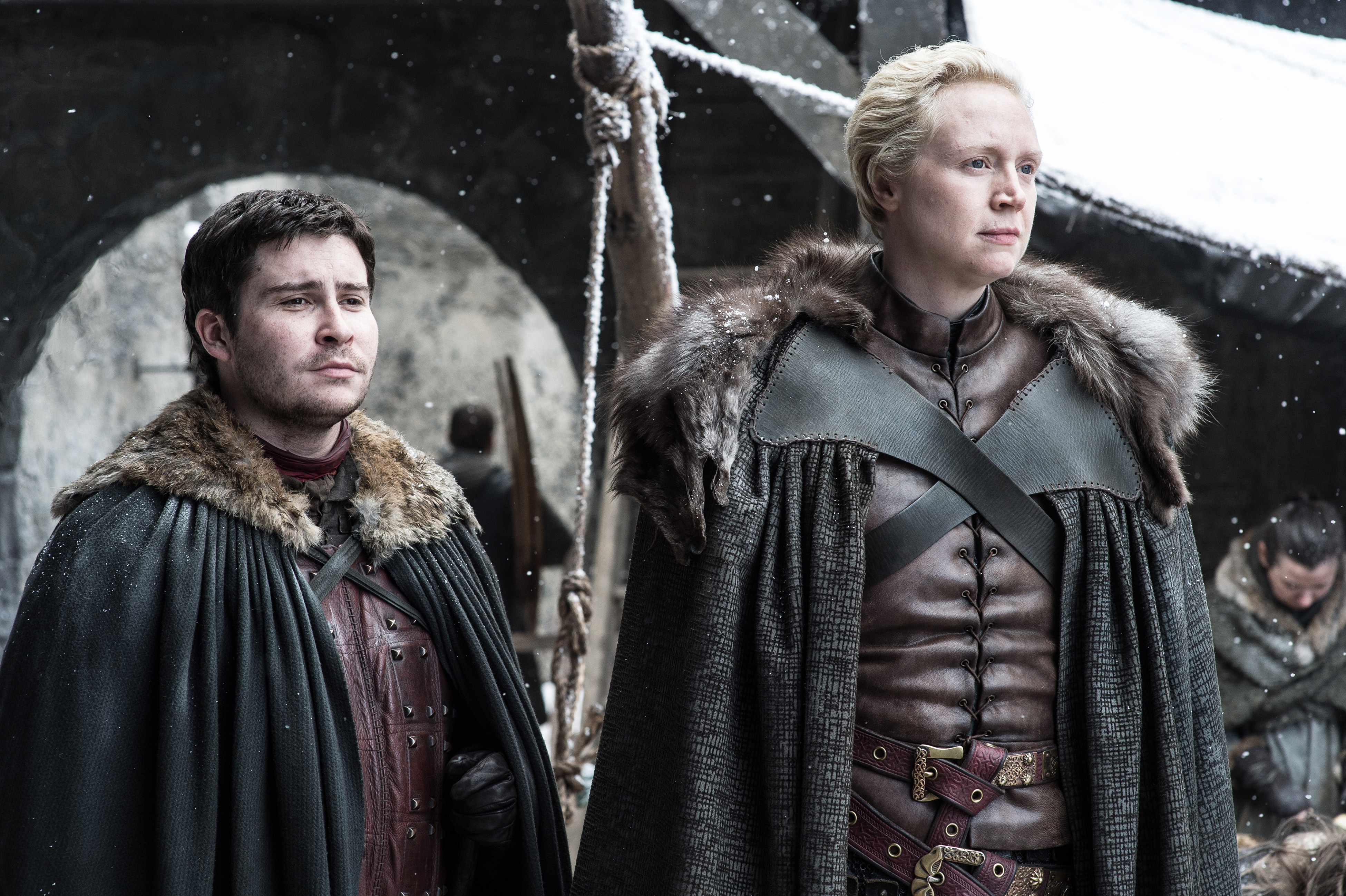 Daniel Portman as Podrick Payne and Gwendoline Christie as Brienne of Tarth.