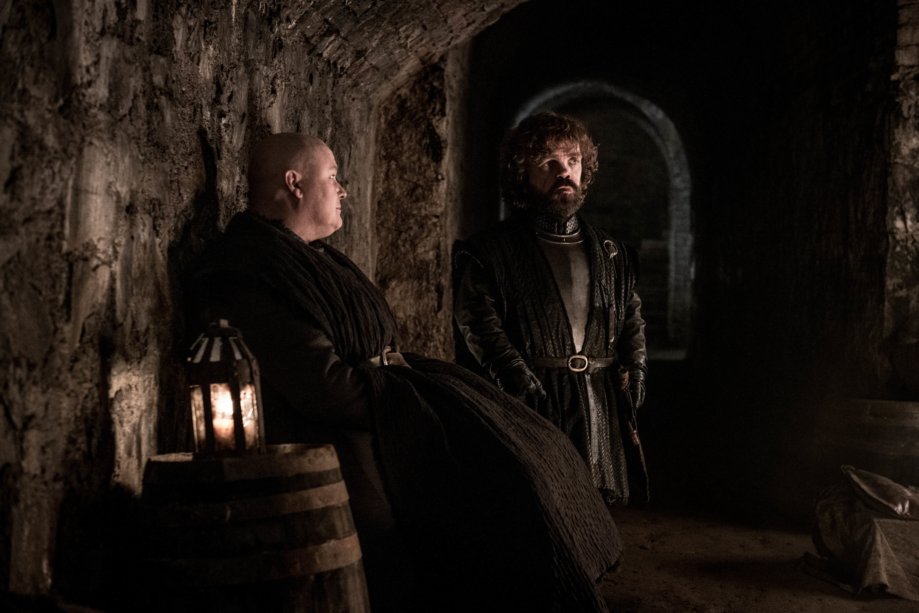 Conleth Hill as Varys and Peter Dinklage as Tyrion Lannister.