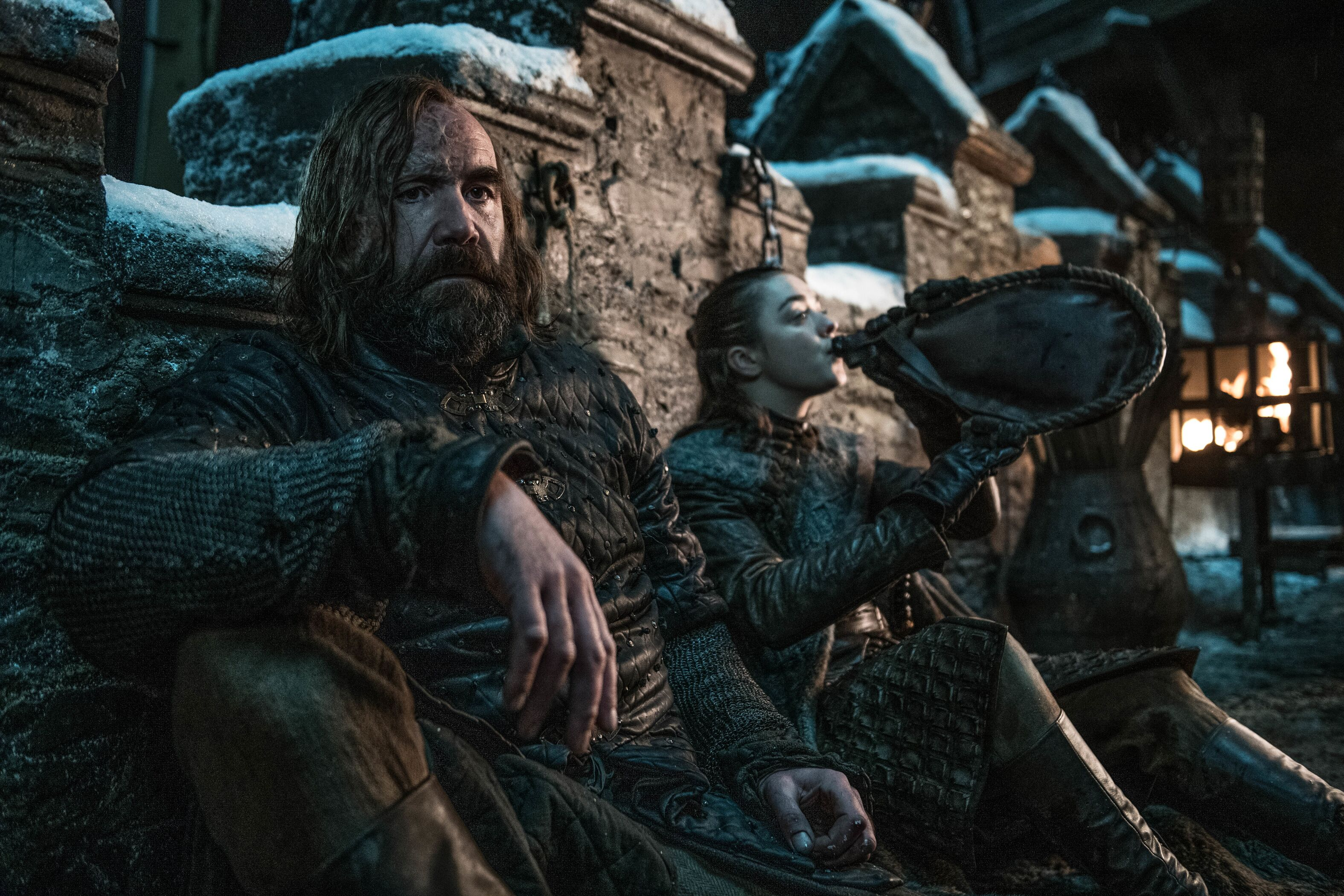 Arya and The Hound sharer a moment in Game fo Thrones season 8 episode 3.