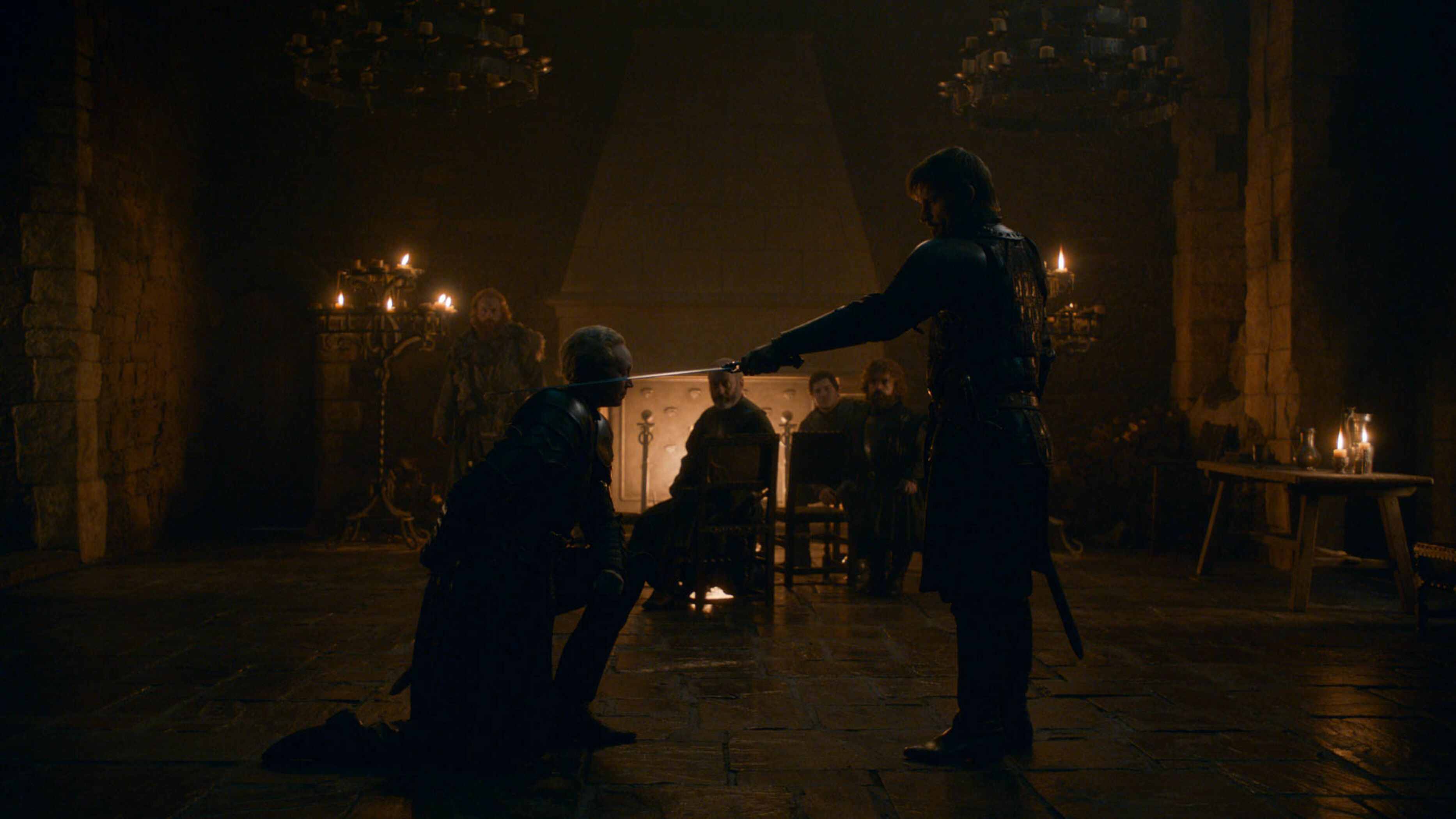 Brienne of Tarth gets knighted by Jamie Lannister at last.