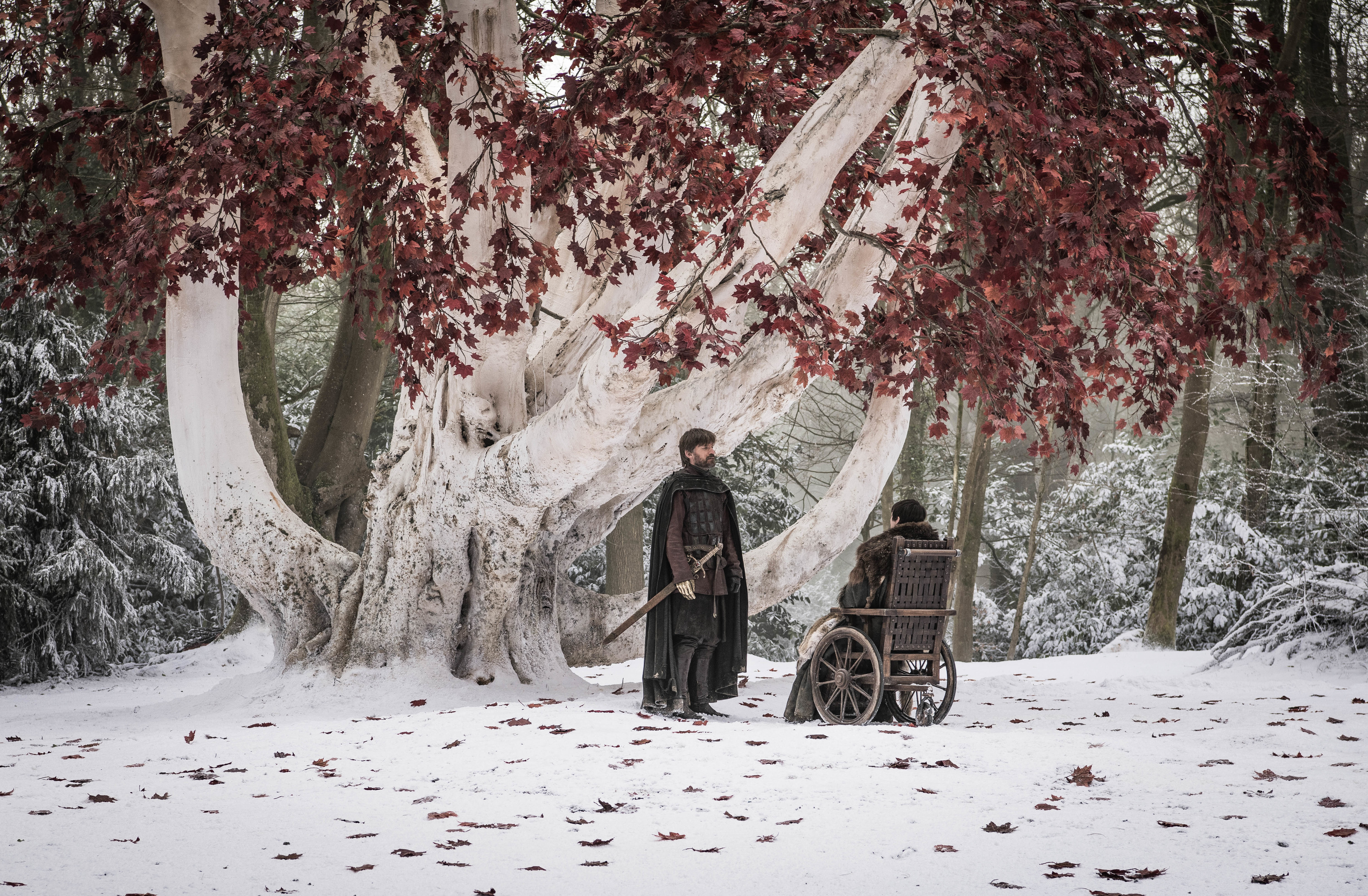 Jaime and Bran finally talk in the godswood on Game of Thrones.