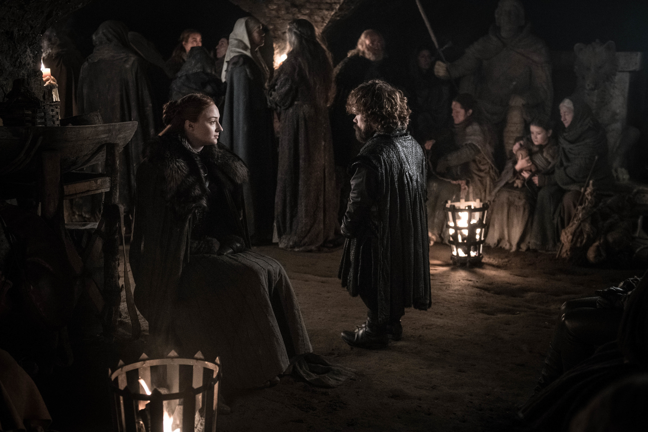 Sansa Stark bonds with Tyrion during the Battle of Winterfell in Game of Thrones season 8 episode 3