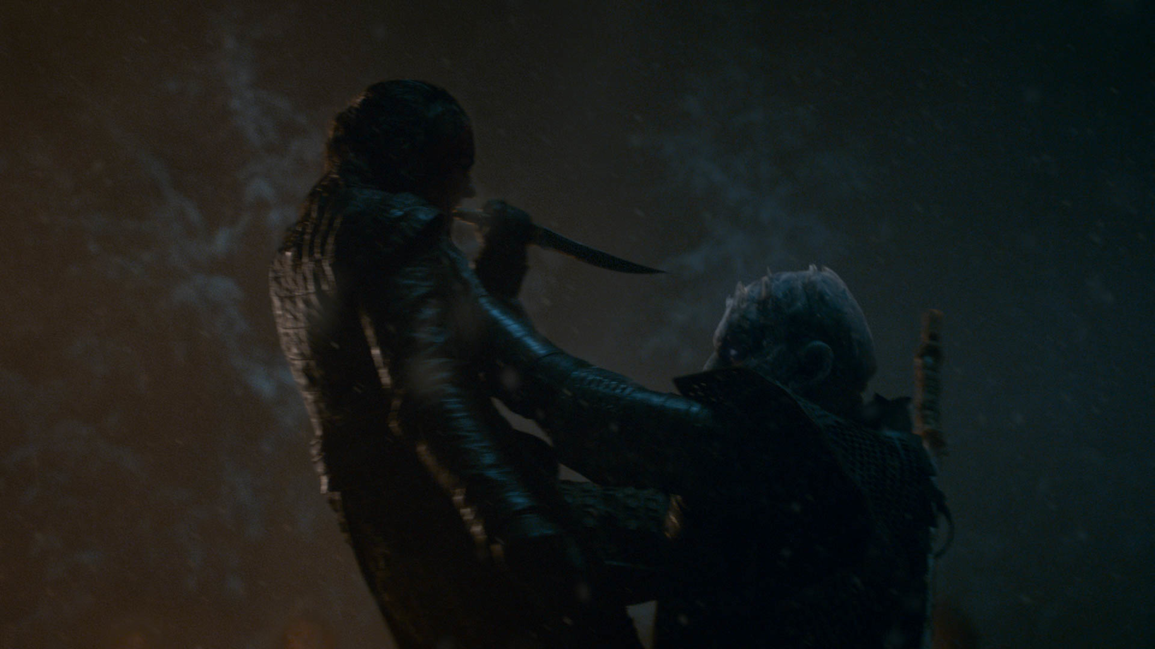 Arya Stark (Maisie Williams) tries to kill the Night King on Game of Thrones.
