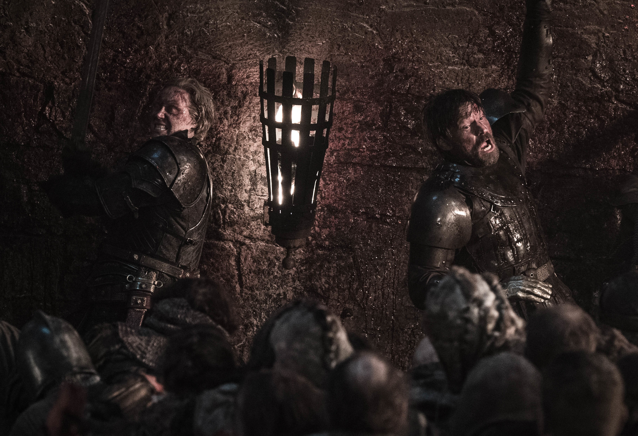 Brienne of Tarth and Jaime Lannister battling during  The Long Night,  the third episode of Game of Thrones's eighth season.