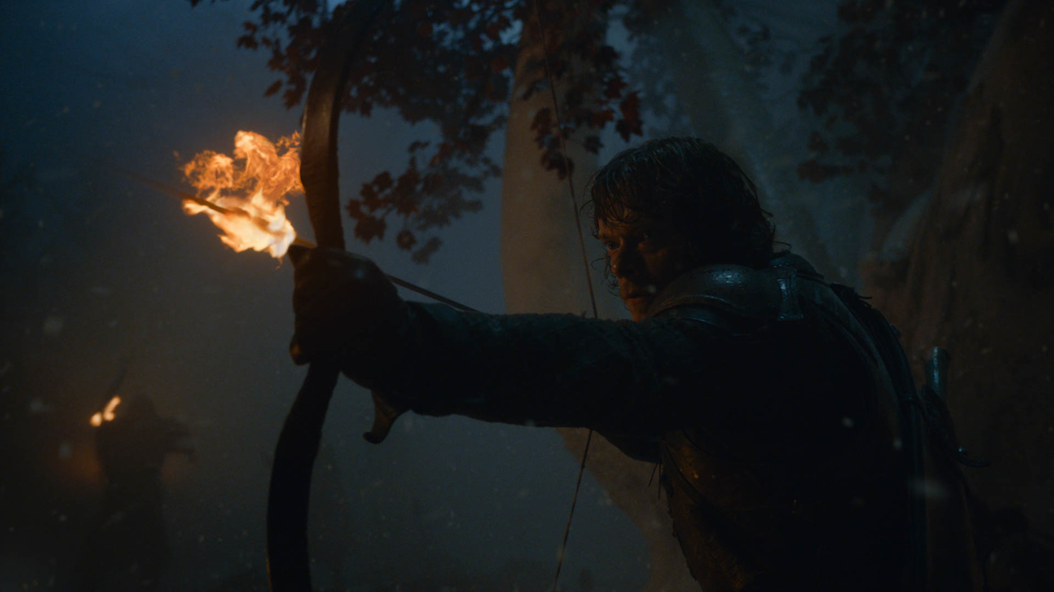 Theon attempts to hold the Night King off from the godswood, where Bran is waiting.