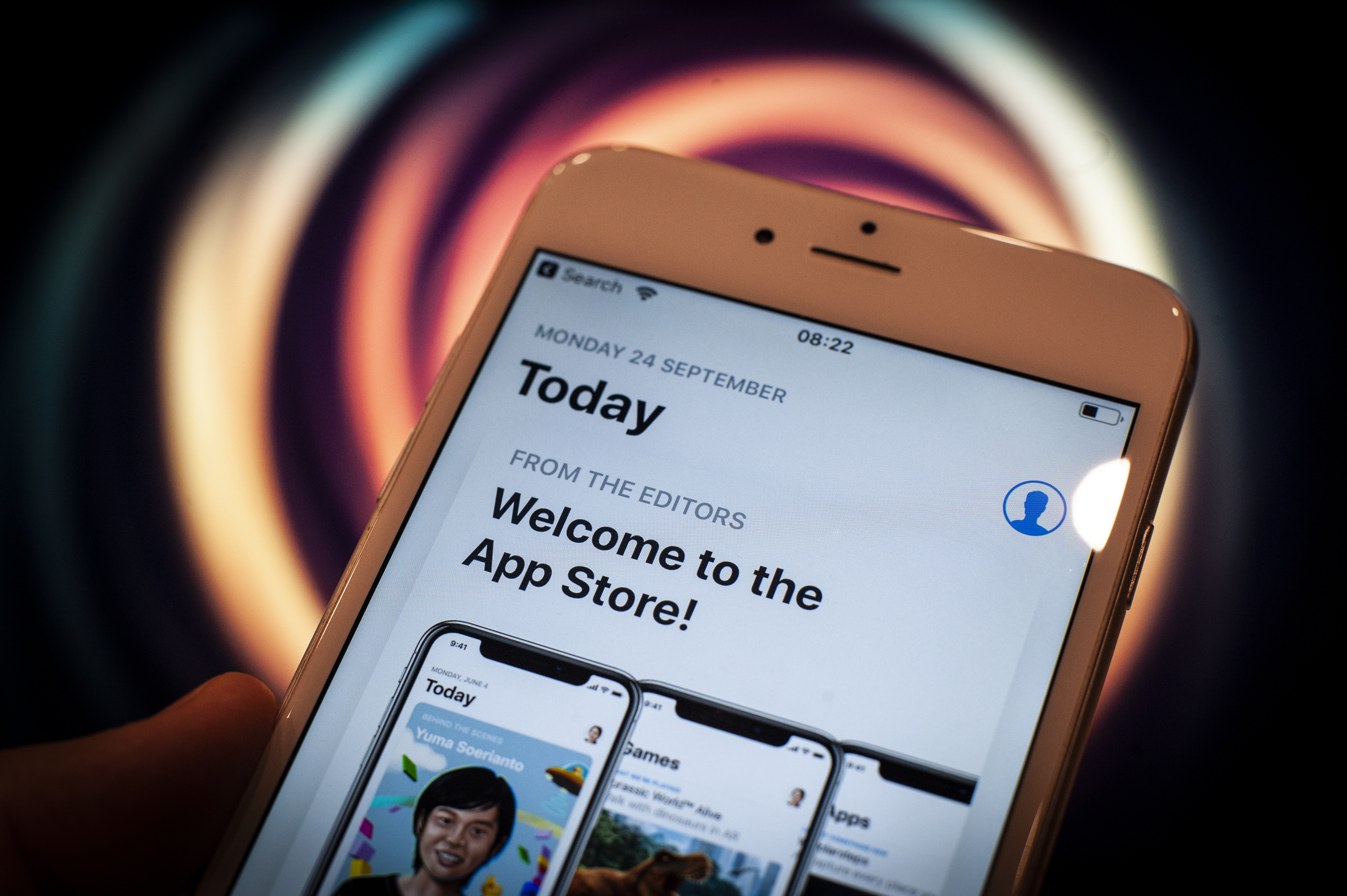 The App Store is seen running on an Apple iPhone in this photo illustration on September 24, 2018.