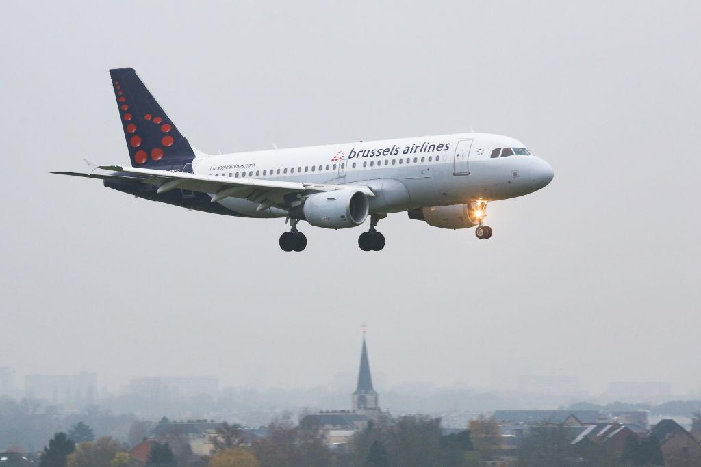 Brussels Airlines Airbus A319-100 airplane with registration OO-SSB landing at Brussels National Zavantem airport BRU EBBR in Belgium.