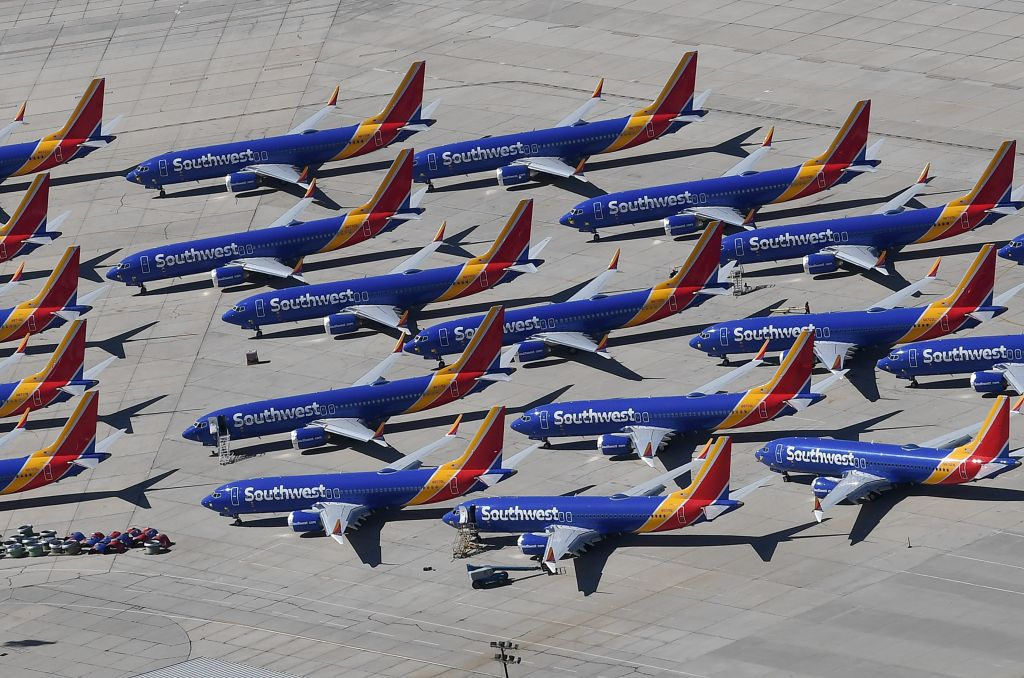 Southwest Airlines Boeing 737 MAX aircraft parked on the tarmac after being grounded.