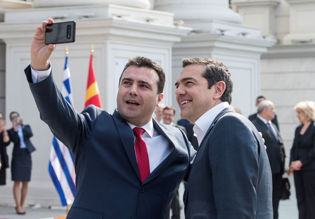 Macedonian Prime Minister Zoran Zaev takes a selfie with his Greek counterpart Alexis Tsipras before their meeting in Skopje on April 2, 2019.