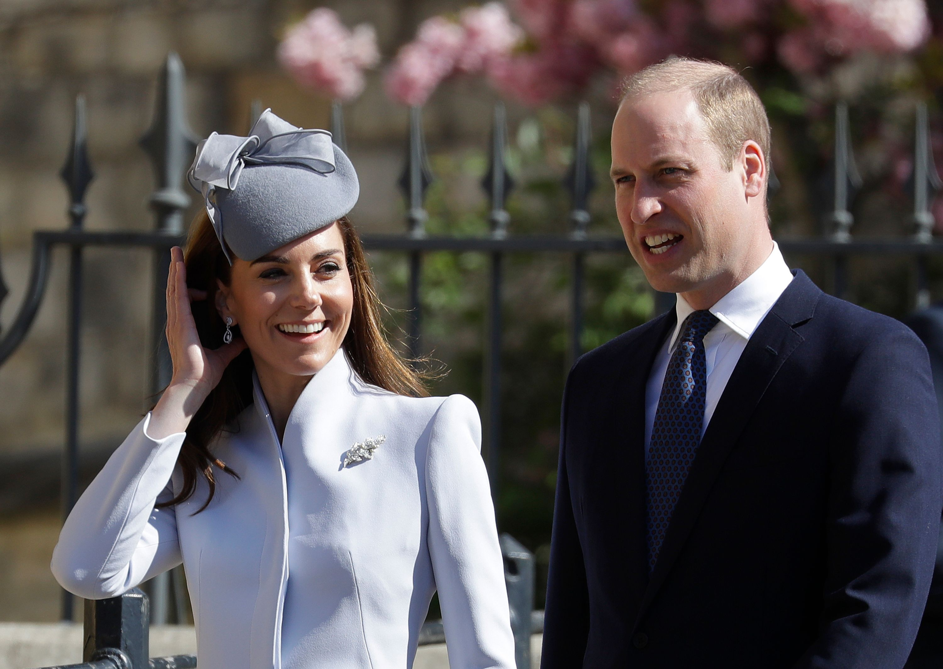 Catherine, Duchess of Cambridgeand Britain's Prince William, Duke of Cambridge arrive for the Easter Mattins Service at St. George's Chapel, Windsor Castle on April 21, 2019. (KIRSTY WIGGLESWORTH/AFP/Getty Images)