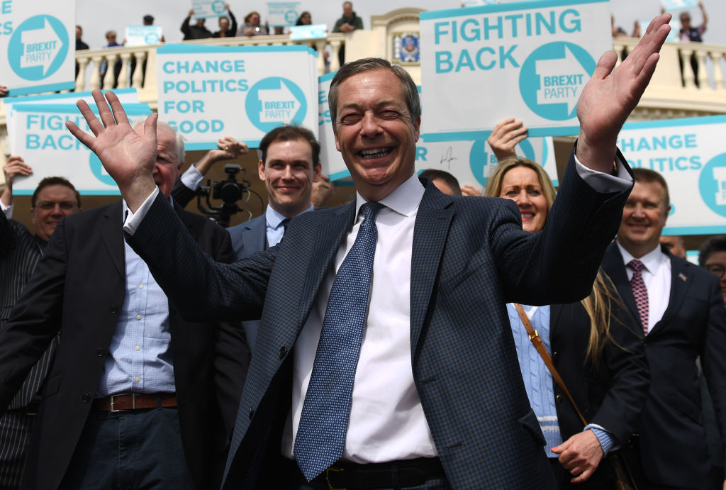 Nigel Farage during a walkabout and rally in Clacton, Essex, for his Brexit Party