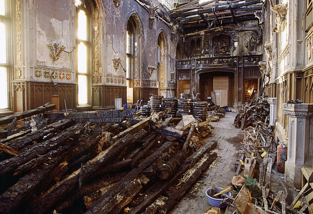 The Inside Of St George's Hall, Windsor Castle on January 14, 1993, after the fire in November