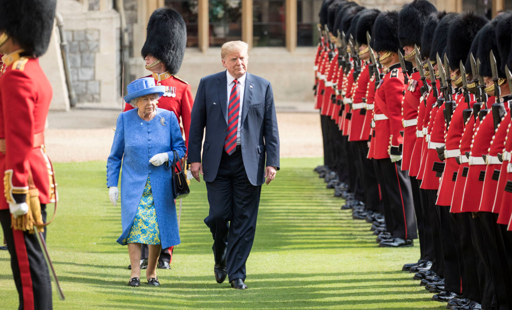 U.S. President Donald Trump and Britain's Queen Elizabeth II at Windsor Castle on July 13, 2018