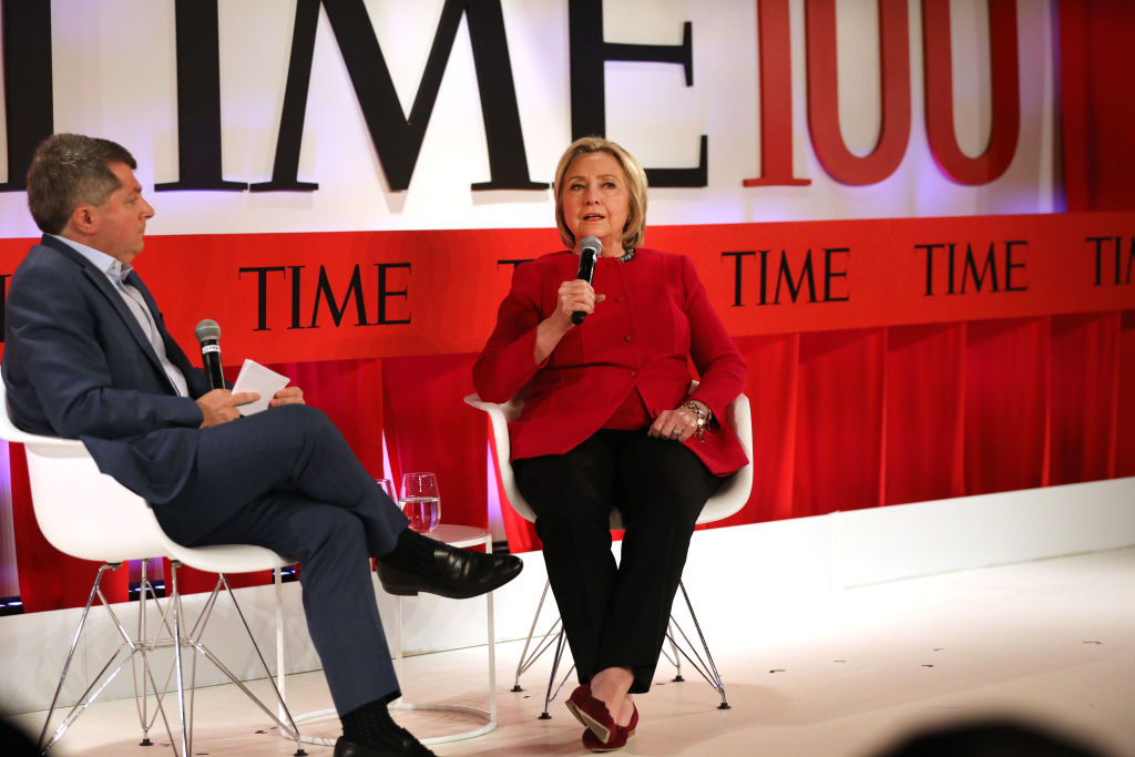 Former U.S. Secretary of State Hillary Clinton speaks at the TIME 100 Summit on April 23, 2019 in New York City.