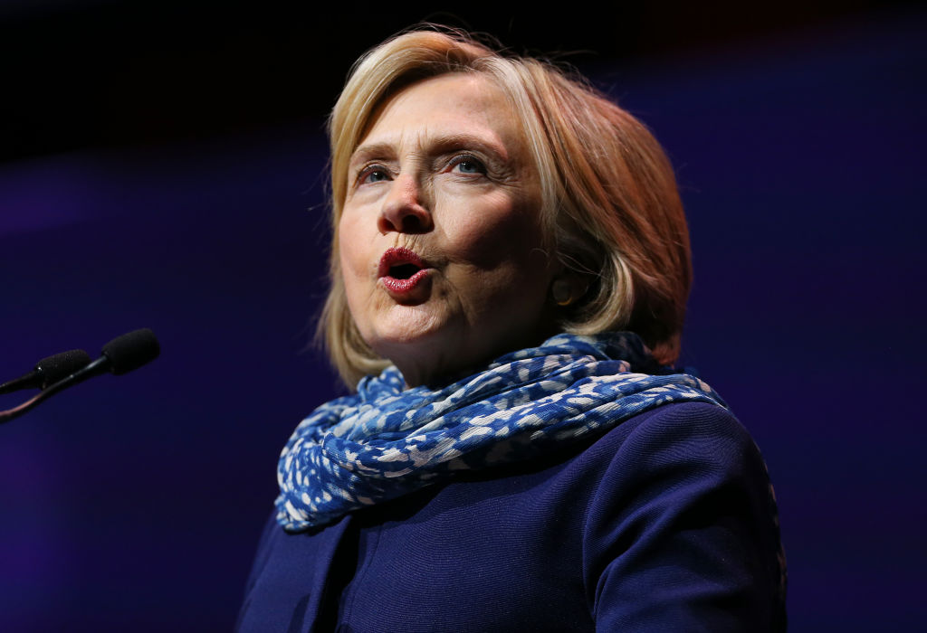 Hillary Clinton speaks during An Evening With Hillary Rodham Clinton at ICC Sydney on May 11, 2018 in Sydney, Australia. The former U.S. Secretary of State will speak at the TIME 100 Summit on April 23 in New York.