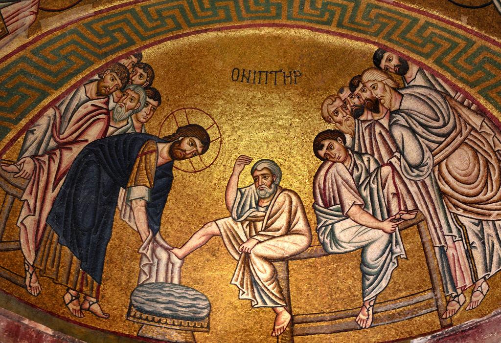 Washing of the feet, mosaic in the Katholikon, Hosios Loukas monastery (UNESCO World Heritage List, 1990), Boeotia, Greece, 11th century.