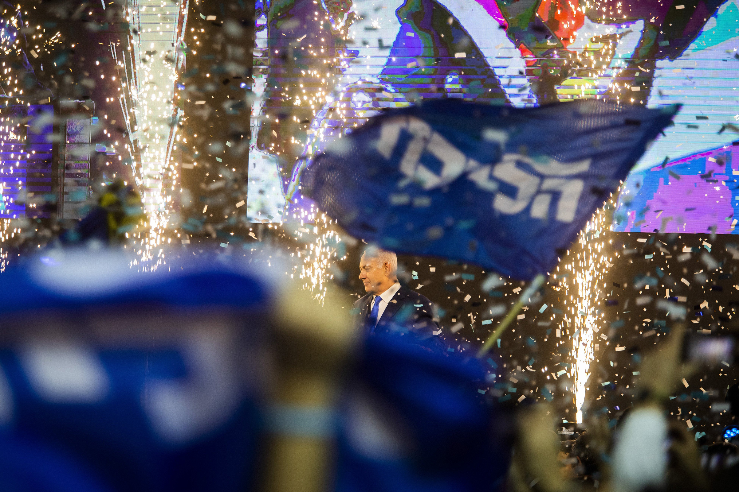 Netanyahu was feted by Likud party supporters at an election-night party in Tel Aviv