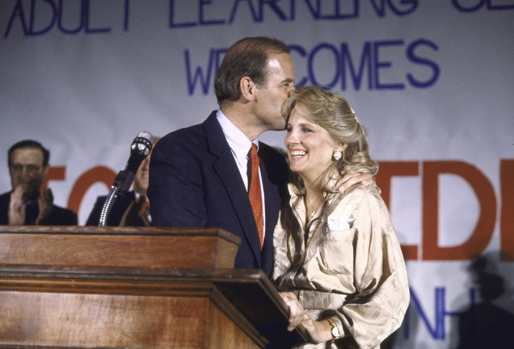 The Bidens after Joe announced his bid for the 1988 presidential nomination.