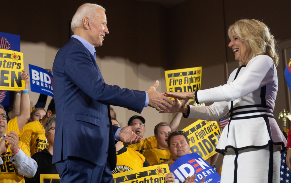 Former US vice president Joe Biden greet his wife Jill Biden during his first campaign event as a candidate for US President at Teamsters Local 249 in Pittsburgh, Pennsylvania, April 29, 2019.