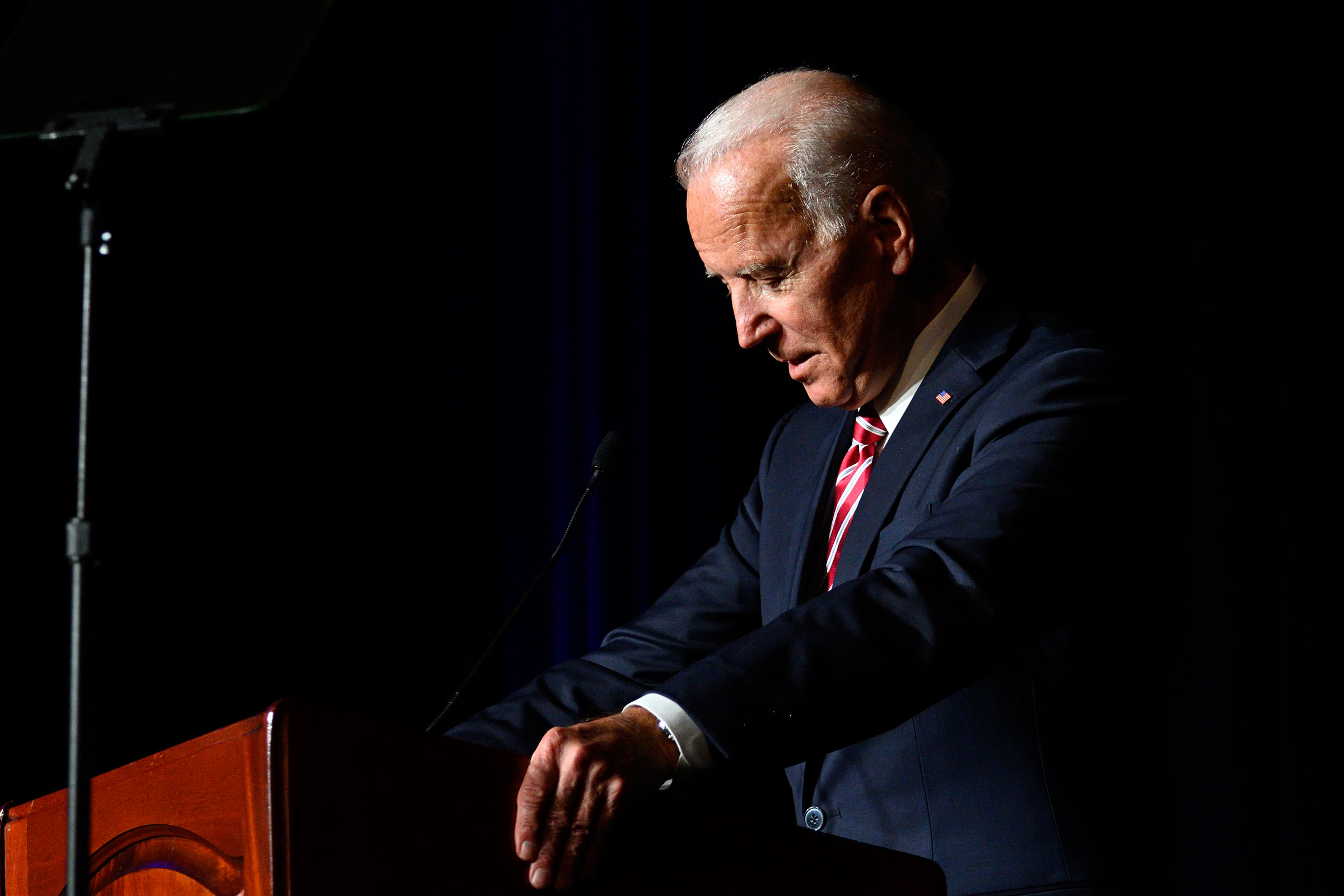 Joe Biden delivers the keynote speech at the First State Democratic Dinner in Dover, DE on March 16, 2019.