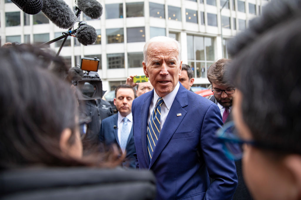 Former Vice President Joe Biden speaks to the media at the International Brotherhood of Electrical Workers Construction and Maintenance conference on April 05, 2019 in Washington, DC.
