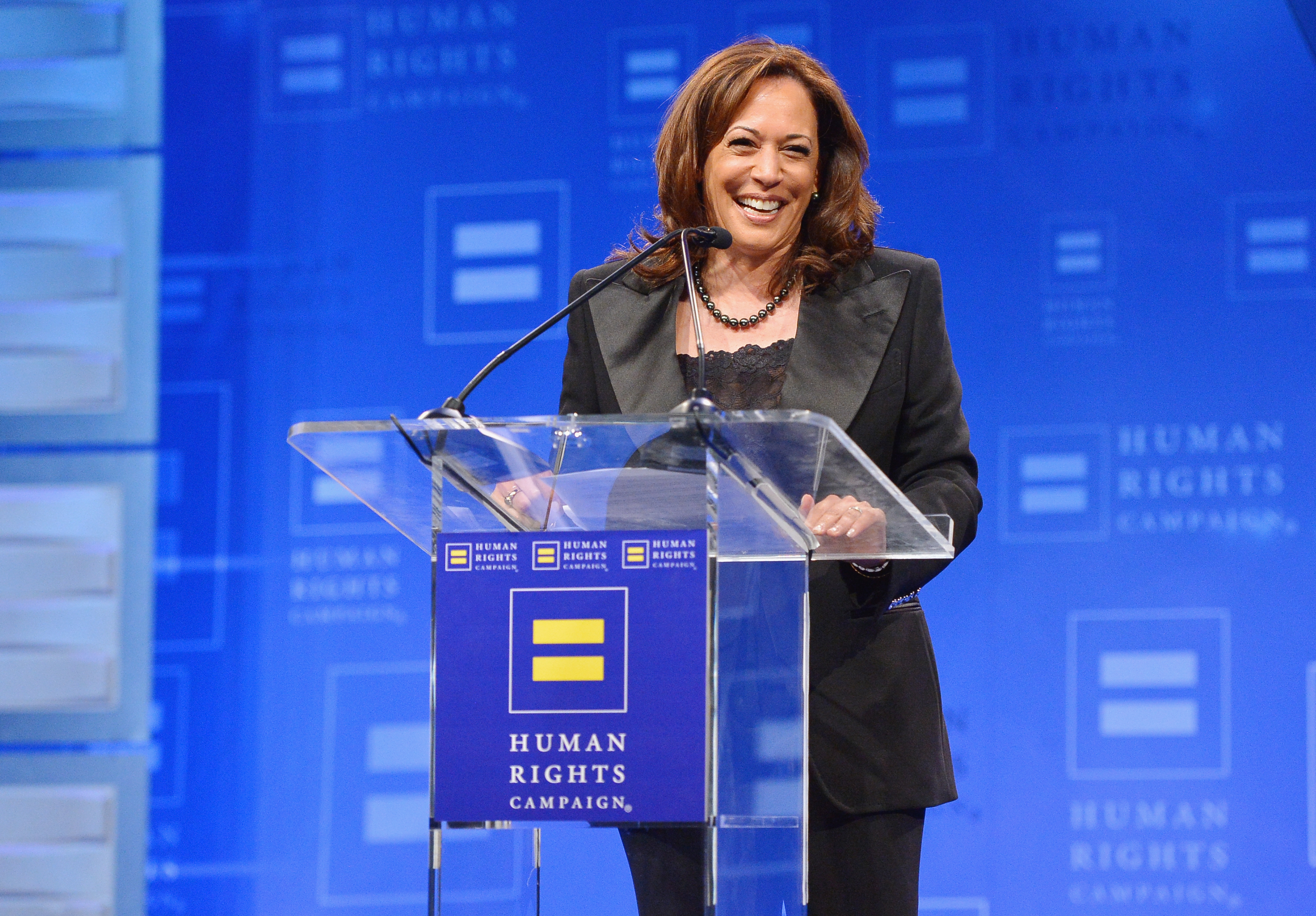 Senator Kamala Harris speaks onstage at The Human Rights Campaign 2019 Los Angeles Gala Dinner at JW Marriott Los Angeles at L.A. LIVE on March 30, 2019 in Los Angeles, California.