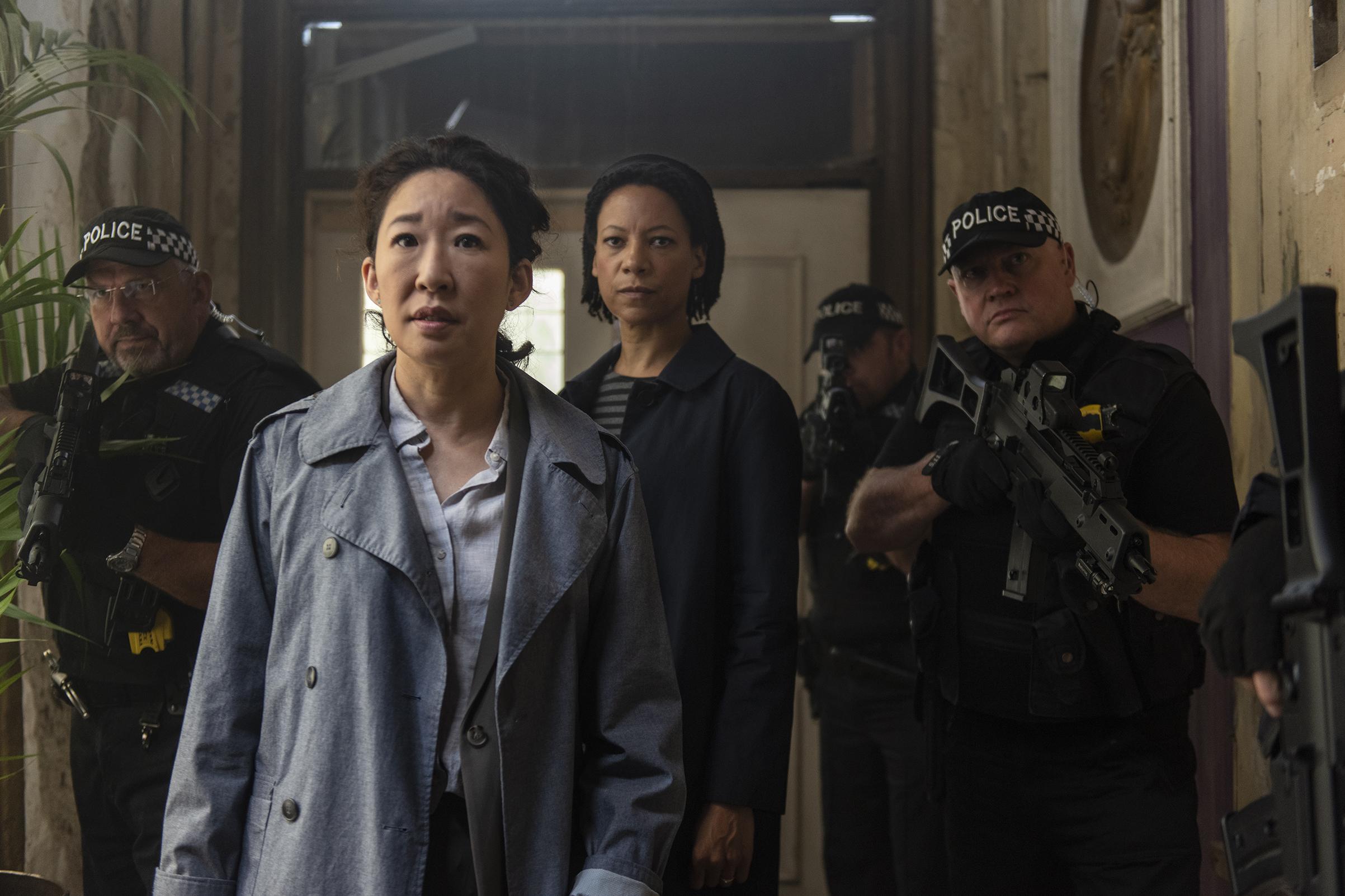 Sandra Oh as Eve Polastri and Nina Sosanya as Jess on the second season of Killing Eve