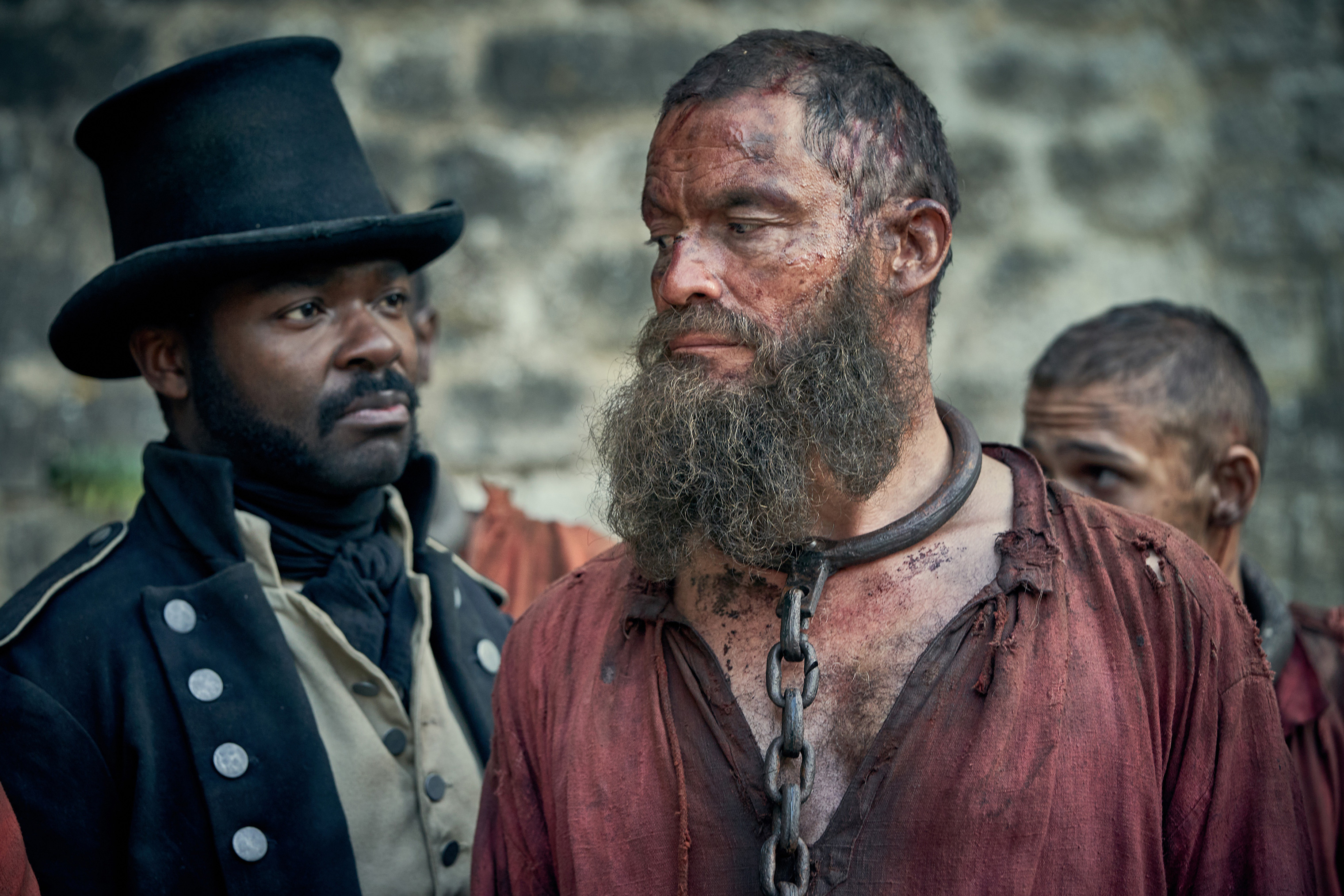 David Oyelowo as Javert and Dominic West as Jean Valjean in Les Misérables on PBS's Masterpiece.