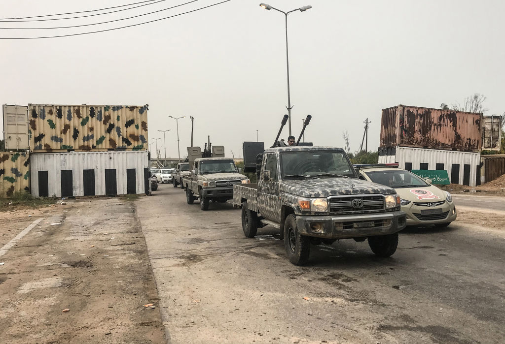 The convoy of the head of Libya's UN-backed unity government, Fayez al-Sarraj, is seen moving after meeting with military and security commanders of the government forces who supervised recapture of the checkpoint 27 in Janzour, between Tripoli and the coastal town of Zawiya on April 5, 2019, hours after Haftar's forces were pushed back from the key spot, less than 30 kilometres (18 miles) from the capital.