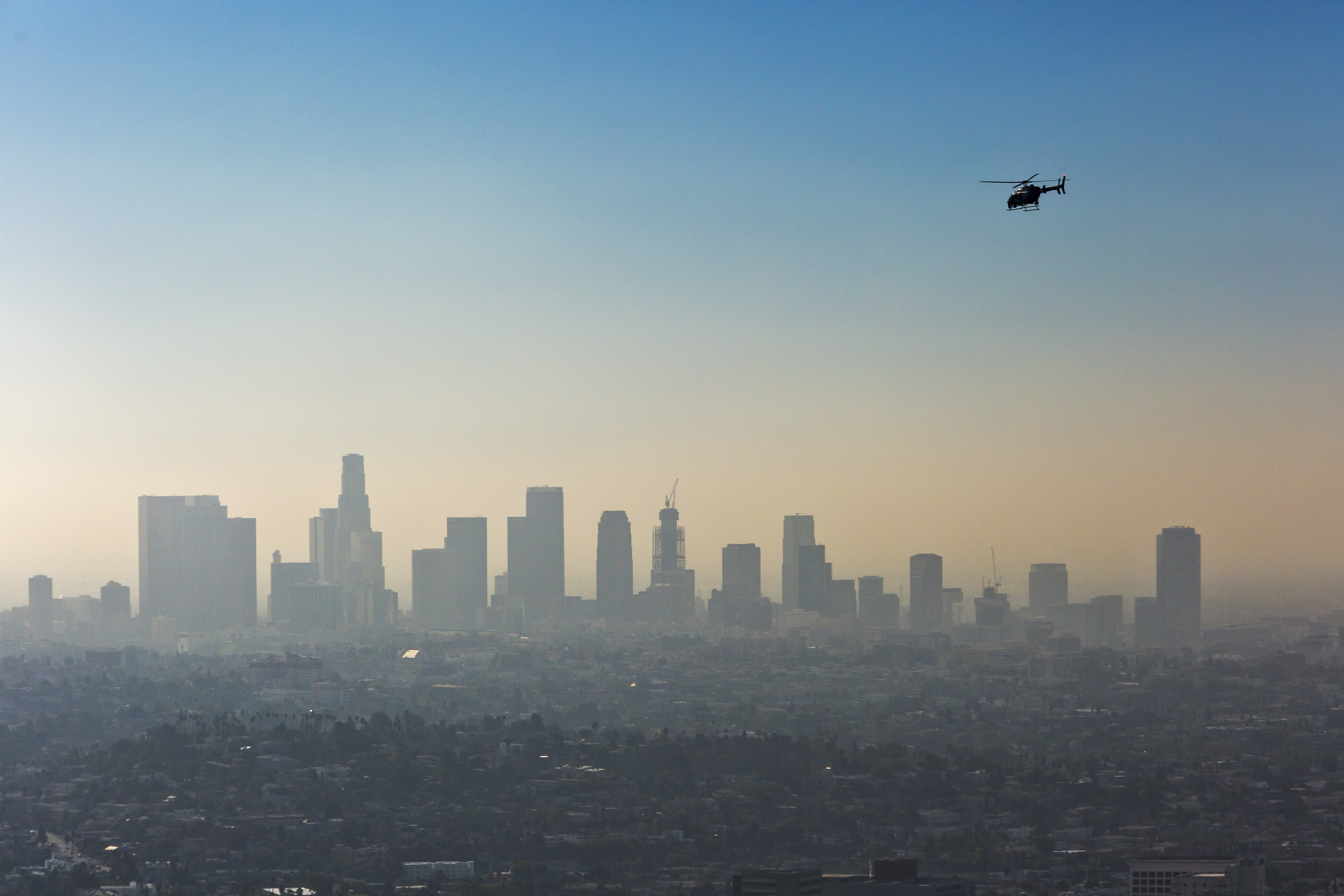 A layer of smog over downtown Los Angeles on Oct. 8, 2015.