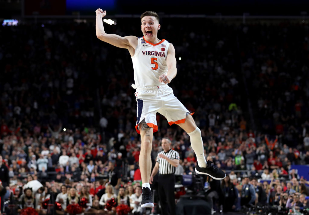 Kyle Guy #5 of the Virginia Cavaliers celebrate his teams 85-77 win over the Texas Tech Red Raiders to win the the 2019 NCAA men's Final Four National Championship game at U.S. Bank Stadium on April 8, 2019 in Minneapolis, Minnesota.