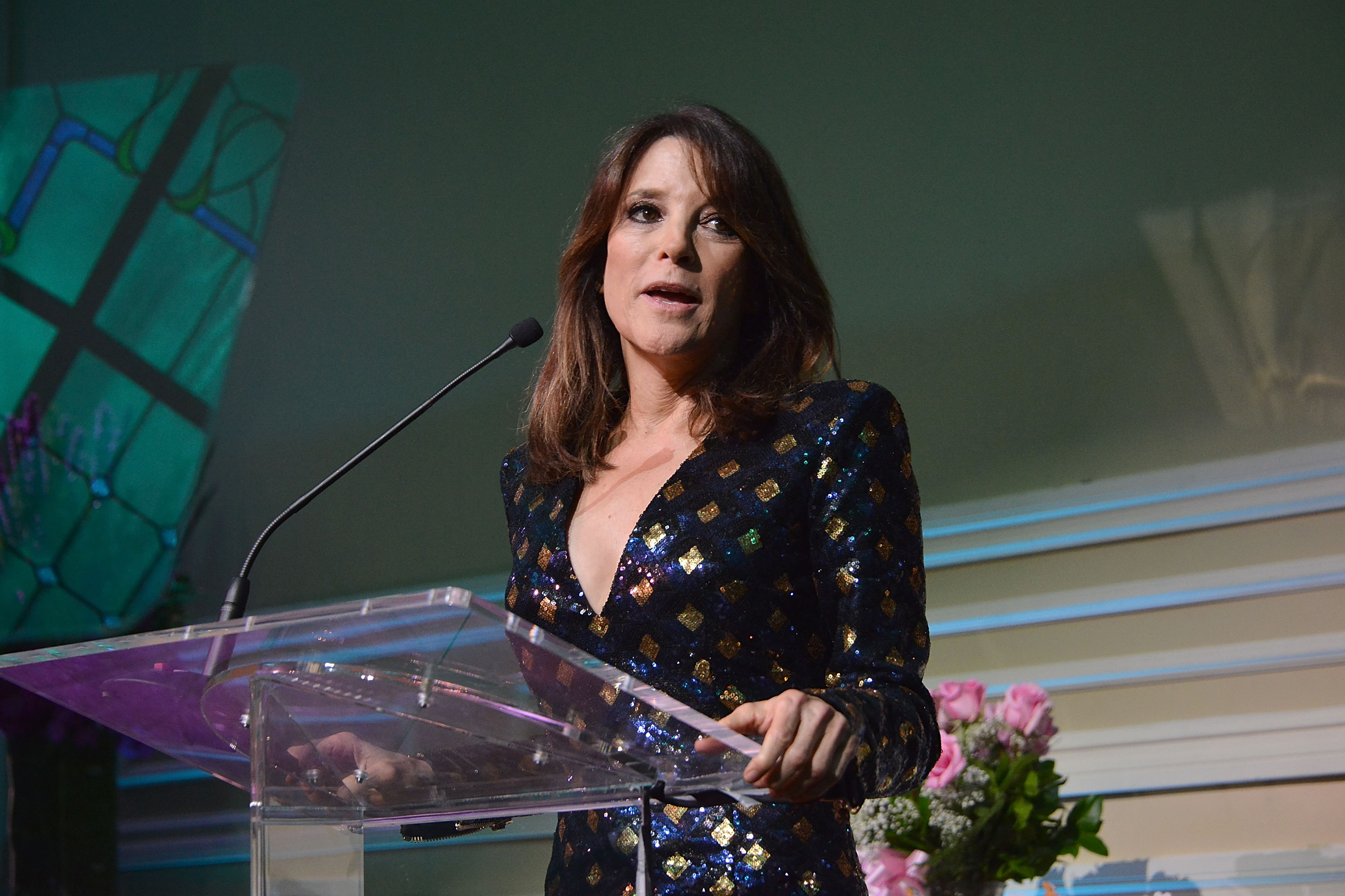 Marianne Williamson attends the Project Angel Food's Angel Awards 2015, Honoring Marianne Williamson & Founding Team as well as Entertainment Industry Foundation at Taglyan Cultural Complex on August 22, 2015 in Hollywood, California.