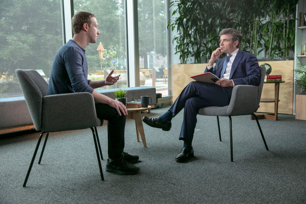 George Stephanopoulos interviews Facebook CEO Mark Zuckerberg on Good Morning America.